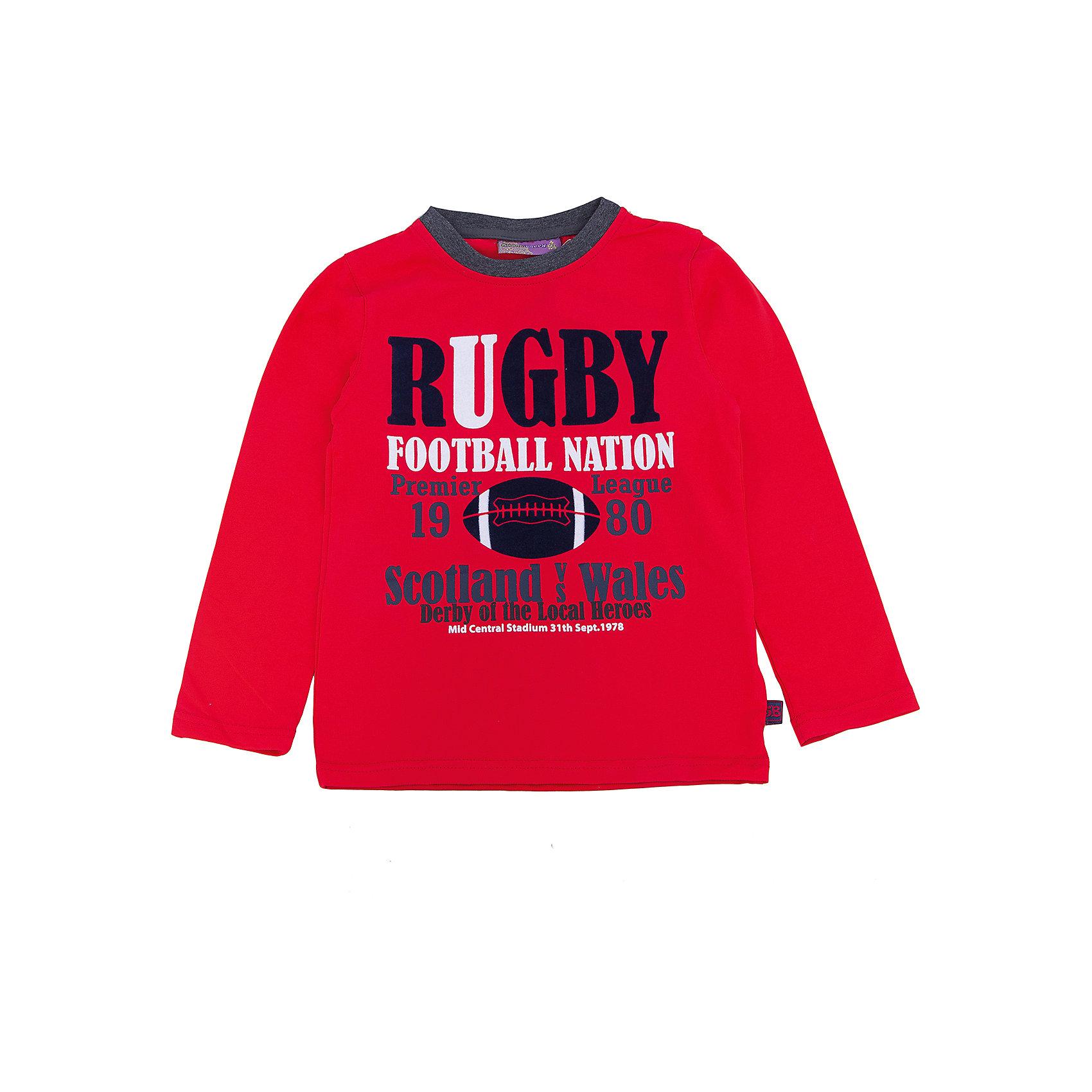 Футболка с длинным рукавом для мальчика Sweet BerryТакая футболка с длинным рукавом для мальчика отличается модным дизайном с ярким принтом. Удачный крой обеспечит ребенку комфорт и тепло. Горловина изделия обработана мягкой резинкой, поэтому вещь плотно прилегает к телу там, где нужно, и отлично сидит по фигуре.<br>Одежда от бренда Sweet Berry - это простой и выгодный способ одеть ребенка удобно и стильно. Всё изделия тщательно проработаны: швы - прочные, материал - качественный, фурнитура - подобранная специально для детей. <br><br>Дополнительная информация:<br><br>цвет: красный;<br>материал: 95% хлопок, 5% эластан;<br>декорирована принтом.<br><br>Футболку с длинным рукавом для мальчика от бренда Sweet Berry можно купить в нашем интернет-магазине.<br><br>Ширина мм: 230<br>Глубина мм: 40<br>Высота мм: 220<br>Вес г: 250<br>Цвет: красный<br>Возраст от месяцев: 84<br>Возраст до месяцев: 96<br>Пол: Мужской<br>Возраст: Детский<br>Размер: 128,116,110,104,122,98<br>SKU: 4930606