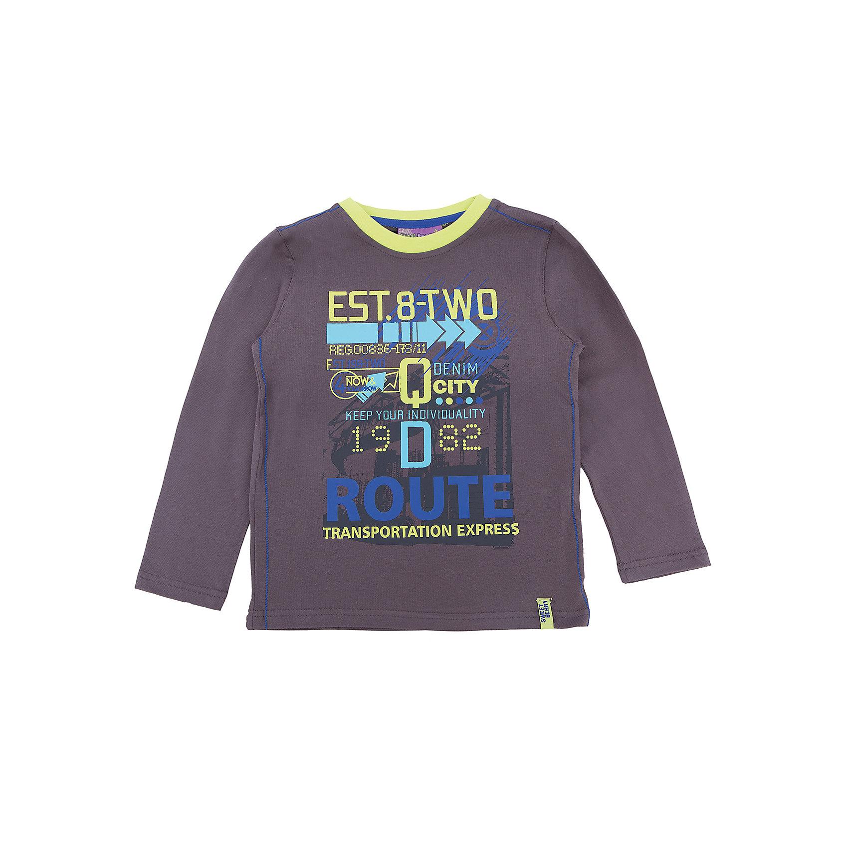Футболка с длинным рукавом для мальчика Sweet BerryТакая футболка с длинным рукавом для мальчика отличается модным дизайном с ярким принтом. Удачный крой обеспечит ребенку комфорт и тепло. Горловина изделия обработана мягкой резинкой, поэтому вещь плотно прилегает к телу там, где нужно, и отлично сидит по фигуре.<br>Одежда от бренда Sweet Berry - это простой и выгодный способ одеть ребенка удобно и стильно. Всё изделия тщательно проработаны: швы - прочные, материал - качественный, фурнитура - подобранная специально для детей. <br><br>Дополнительная информация:<br><br>цвет: серый;<br>материал: 95% хлопок, 5% эластан;<br>декорирована принтом.<br><br>Футболку с длинным рукавом для мальчика от бренда Sweet Berry можно купить в нашем интернет-магазине.<br><br>Ширина мм: 230<br>Глубина мм: 40<br>Высота мм: 220<br>Вес г: 250<br>Цвет: серый<br>Возраст от месяцев: 24<br>Возраст до месяцев: 36<br>Пол: Мужской<br>Возраст: Детский<br>Размер: 98,104,110,116,122,128<br>SKU: 4930704