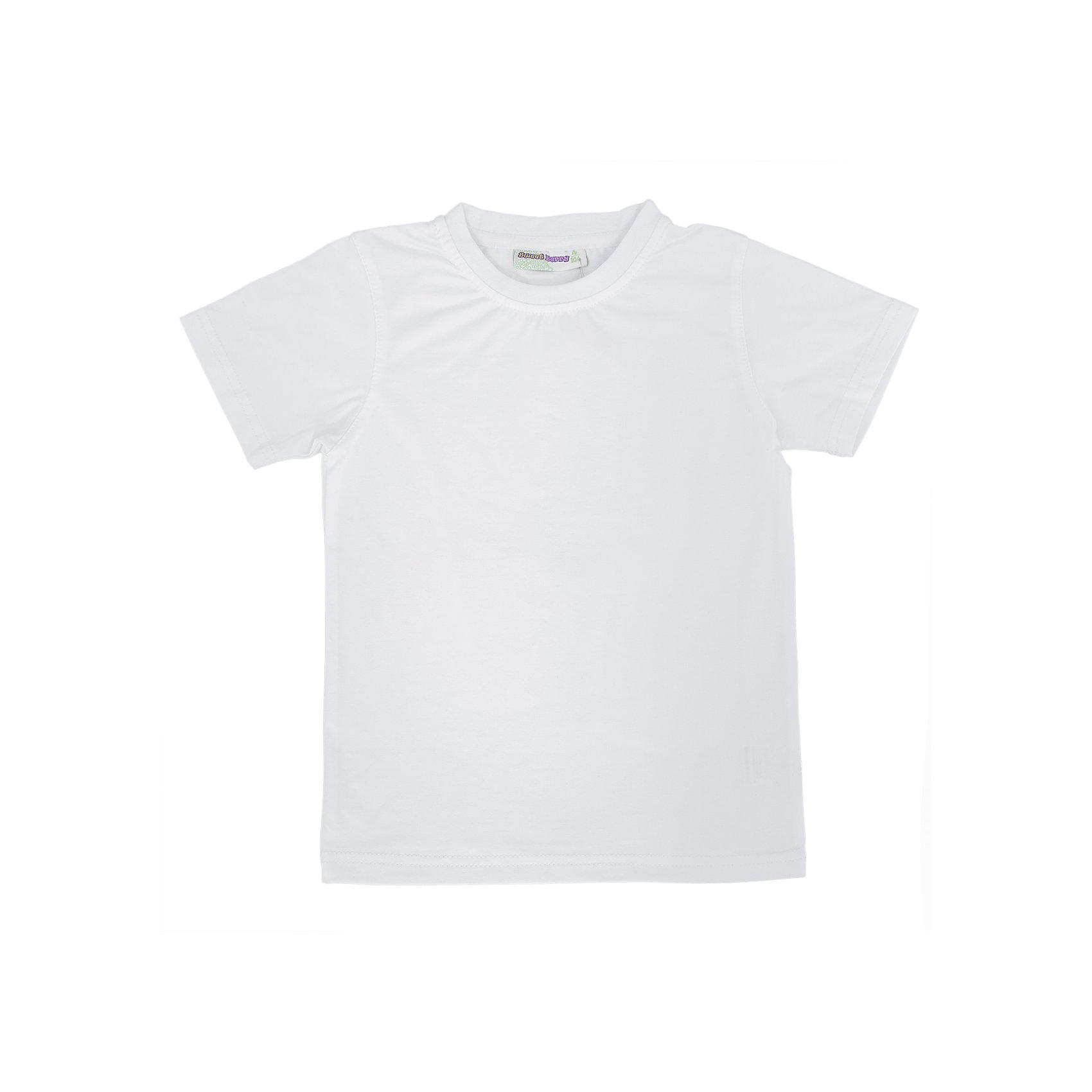 Футболка для мальчика Sweet BerryФутболки, поло и топы<br>Базовая футболка для мальчиков.<br>Состав:<br>95% хлопок 5% эластан<br><br>Ширина мм: 199<br>Глубина мм: 10<br>Высота мм: 161<br>Вес г: 151<br>Цвет: белый<br>Возраст от месяцев: 24<br>Возраст до месяцев: 36<br>Пол: Мужской<br>Возраст: Детский<br>Размер: 104,110,116,122,128,98<br>SKU: 4930802