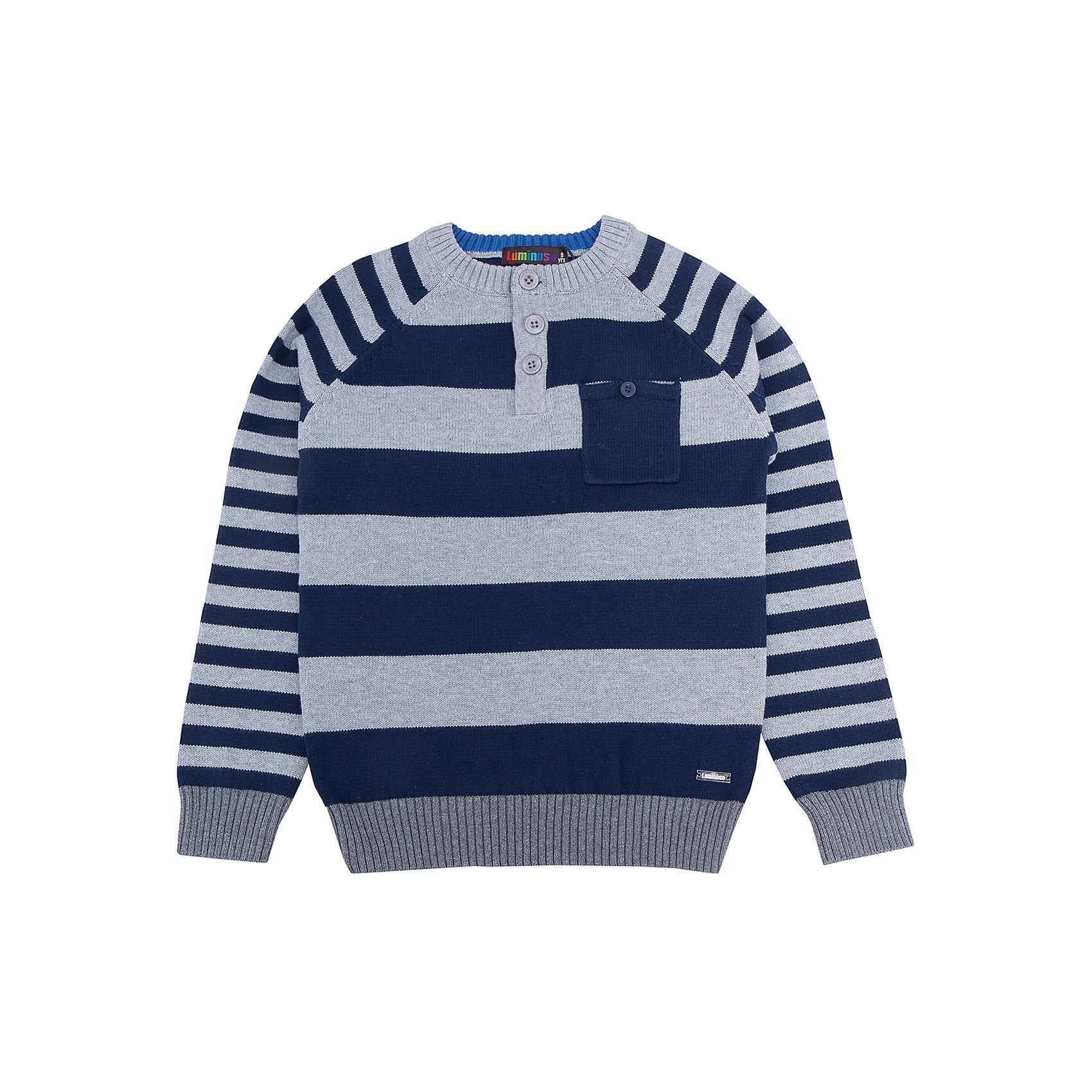 Свитер для мальчика LuminosoСвитера и кардиганы<br>Характеристики товара:<br><br>- цвет: серый;<br>- материал: 100% хлопок;<br>- застежка поло;<br>- резинка по низу и на рукавах;<br>- длинный рукав;<br>- в полоску;<br>- рукава реглан.<br><br>Стильная одежда от бренда Luminoso (Люминосо), созданная при участии итальянских дизайнеров, учитывает потребности подростков и последние веяния моды. Она удобная и модная.<br>Этот стильный свитер идеален для прохладной погоды. Он хорошо сидит на ребенке, обеспечивает комфорт и отлично сочетается с одежной разных стилей. Модель отличается высоким качеством материала и продуманным дизайном.<br><br>Свитер для мальчика от бренда Luminoso (Люминосо) можно купить в нашем интернет-магазине.<br><br>Ширина мм: 190<br>Глубина мм: 74<br>Высота мм: 229<br>Вес г: 236<br>Цвет: серый<br>Возраст от месяцев: 108<br>Возраст до месяцев: 120<br>Пол: Мужской<br>Возраст: Детский<br>Размер: 140,164,134,146,152,158<br>SKU: 4930823