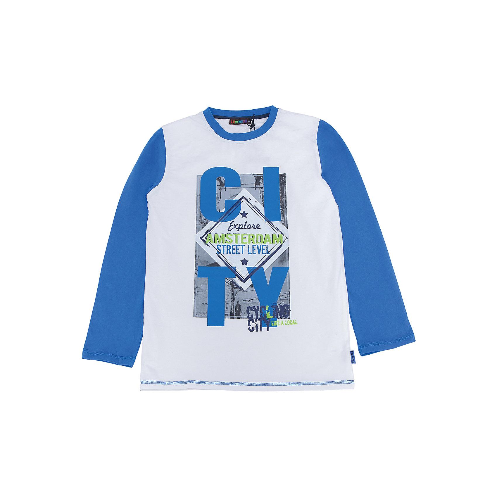 Футболка с длинным рукавом для мальчика LuminosoХарактеристики товара:<br><br>- цвет: белый;<br>- материал: 95% хлопок, 5% эластан;<br>- декорирована принтом;<br>- длинный рукав;<br>- округлый горловой вырез.<br><br>Стильная одежда от бренда Luminoso (Люминосо), созданная при участии итальянских дизайнеров, учитывает потребности подростков и последние веяния моды. Она удобная и модная.<br>Эта футболка с длинным рукавом выглядит стильно и нарядно, но при этом подходит для ежедневного ношения. Он хорошо сидит на ребенке, обеспечивает комфорт и отлично сочетается с одежной разных стилей. Модель отличается высоким качеством материала и продуманным дизайном. Натуральный хлопок в составе изделия делает его дышащим, приятным на ощупь и гипоаллергеным.<br><br>Футболку с длинным рукавом для мальчика от бренда Luminoso (Люминосо) можно купить в нашем интернет-магазине.<br><br>Ширина мм: 230<br>Глубина мм: 40<br>Высота мм: 220<br>Вес г: 250<br>Цвет: белый<br>Возраст от месяцев: 108<br>Возраст до месяцев: 120<br>Пол: Мужской<br>Возраст: Детский<br>Размер: 140,146,152,158,164,134<br>SKU: 4930865
