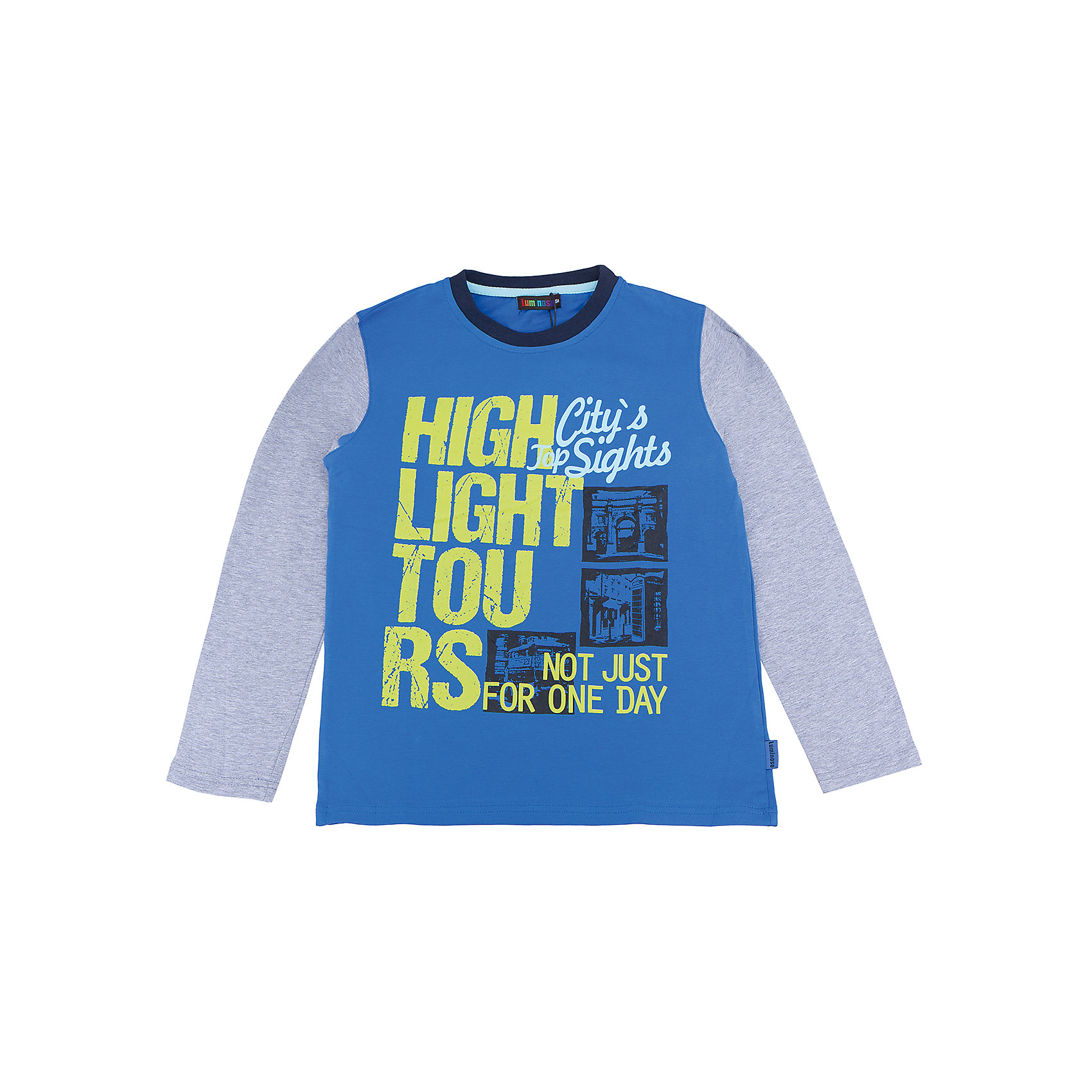 Футболка с длинным рукавом для мальчика LuminosoХарактеристики товара:<br><br>- цвет: синий;<br>- материал: 95% хлопок, 5% эластан;<br>- декорирована принтом;<br>- длинный рукав;<br>- округлый горловой вырез.<br><br>Стильная одежда от бренда Luminoso (Люминосо), созданная при участии итальянских дизайнеров, учитывает потребности подростков и последние веяния моды. Она удобная и модная.<br>Эта футболка с длинным рукавом выглядит стильно и нарядно, но при этом подходит для ежедневного ношения. Он хорошо сидит на ребенке, обеспечивает комфорт и отлично сочетается с одежной разных стилей. Модель отличается высоким качеством материала и продуманным дизайном. Натуральный хлопок в составе изделия делает его дышащим, приятным на ощупь и гипоаллергеным.<br><br>Футболку с длинным рукавом для мальчика от бренда Luminoso (Люминосо) можно купить в нашем интернет-магазине.<br><br>Ширина мм: 230<br>Глубина мм: 40<br>Высота мм: 220<br>Вес г: 250<br>Цвет: синий<br>Возраст от месяцев: 96<br>Возраст до месяцев: 108<br>Пол: Мужской<br>Возраст: Детский<br>Размер: 134,164,158,152,146,140<br>SKU: 4930872