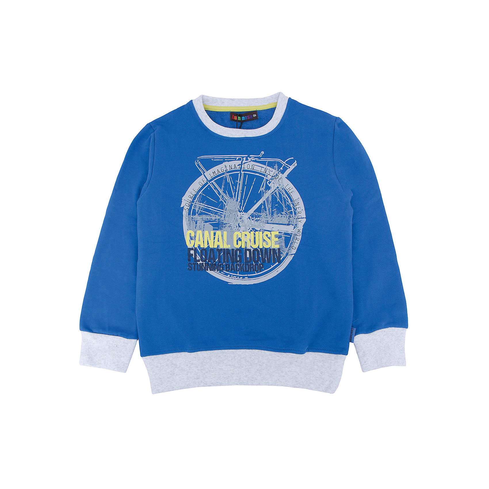 Толстовка для мальчика LuminosoТолстовки<br>Характеристики товара:<br><br>- цвет: синий;<br>- материал: 95% хлопок, 5% эластан;<br>- манжеты;<br>- длинный рукав;<br>- принт.<br><br>Стильная одежда от бренда Luminoso (Люминосо), созданная при участии итальянских дизайнеров, учитывает потребности подростков и последние веяния моды. Она удобная и модная.<br>Эта стильная толстовка идеальна для прохладной погоды. Он хорошо сидит на ребенке, обеспечивает комфорт и отлично сочетается с одежной разных стилей. Модель отличается высоким качеством материала и продуманным дизайном.<br><br>Толстовку для мальчика от бренда Luminoso (Люминосо) можно купить в нашем интернет-магазине.<br><br>Ширина мм: 190<br>Глубина мм: 74<br>Высота мм: 229<br>Вес г: 236<br>Цвет: синий<br>Возраст от месяцев: 132<br>Возраст до месяцев: 144<br>Пол: Мужской<br>Возраст: Детский<br>Размер: 152,158,164,134,140,146<br>SKU: 4930893