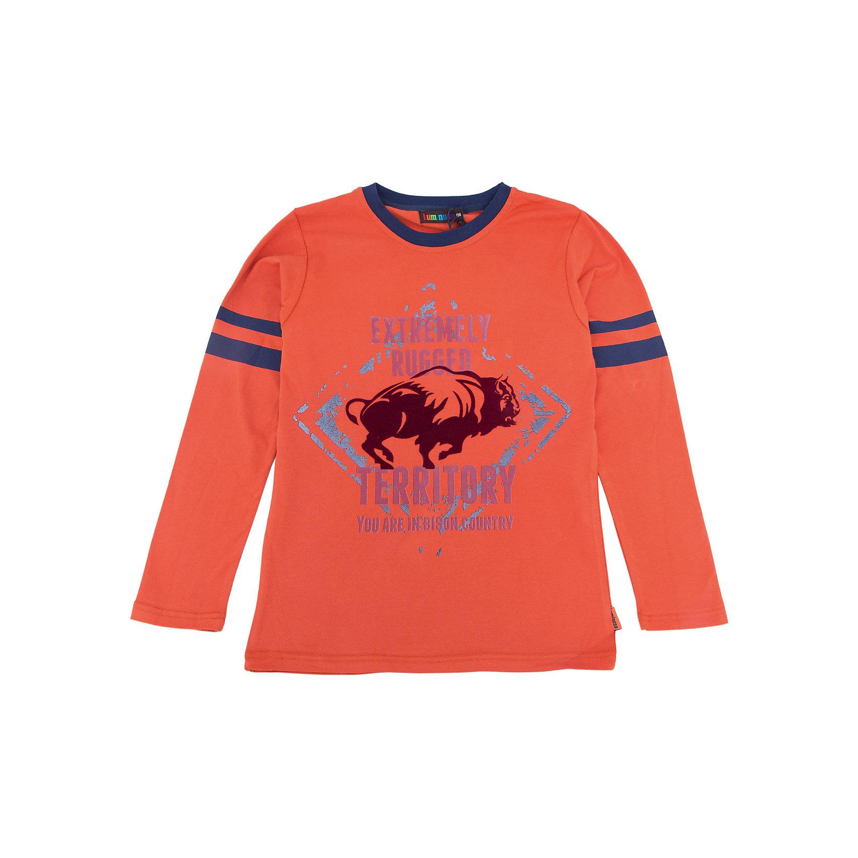 Футболка с длинным рукавом для мальчика LuminosoХарактеристики товара:<br><br>- цвет: оранжевый;<br>- материал: 95% хлопок, 5% эластан;<br>- округлый горловой вырез;<br>- длинный рукав;<br>- принт.<br><br>Стильная одежда от бренда Luminoso (Люминосо), созданная при участии итальянских дизайнеров, учитывает потребности подростков и последние веяния моды. Она удобная и модная.<br>Эта стильная футболка с длинным рукавом идеальна для прохладной погоды. Он хорошо сидит на ребенке, обеспечивает комфорт и отлично сочетается с одежной разных стилей. Модель отличается высоким качеством материала и продуманным дизайном.<br><br>Футболку с длинным рукавом для мальчика от бренда Luminoso (Люминосо) можно купить в нашем интернет-магазине.<br><br>Ширина мм: 230<br>Глубина мм: 40<br>Высота мм: 220<br>Вес г: 250<br>Цвет: коричневый<br>Возраст от месяцев: 96<br>Возраст до месяцев: 108<br>Пол: Мужской<br>Возраст: Детский<br>Размер: 134,164,158,152,146,140<br>SKU: 4930942