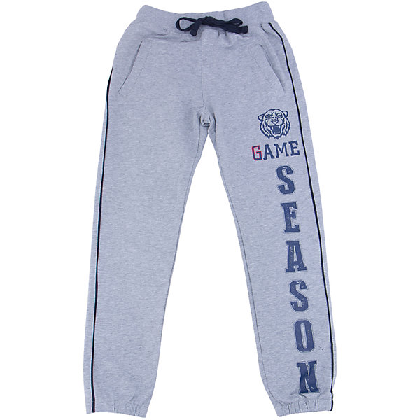 Брюки для мальчика LuminosoСпортивная форма<br>Спортивные брюки для мальчиков с лампасами по бокам. Эластичный пояс с внутренней резинкой, с дополнительным  шнурком. Декорирован принтом.<br>Состав:<br>95% хлопок 5% эластан<br>Ширина мм: 215; Глубина мм: 88; Высота мм: 191; Вес г: 336; Цвет: серый; Возраст от месяцев: 120; Возраст до месяцев: 132; Пол: Мужской; Возраст: Детский; Размер: 146,134,164,158,152,140; SKU: 4931026;