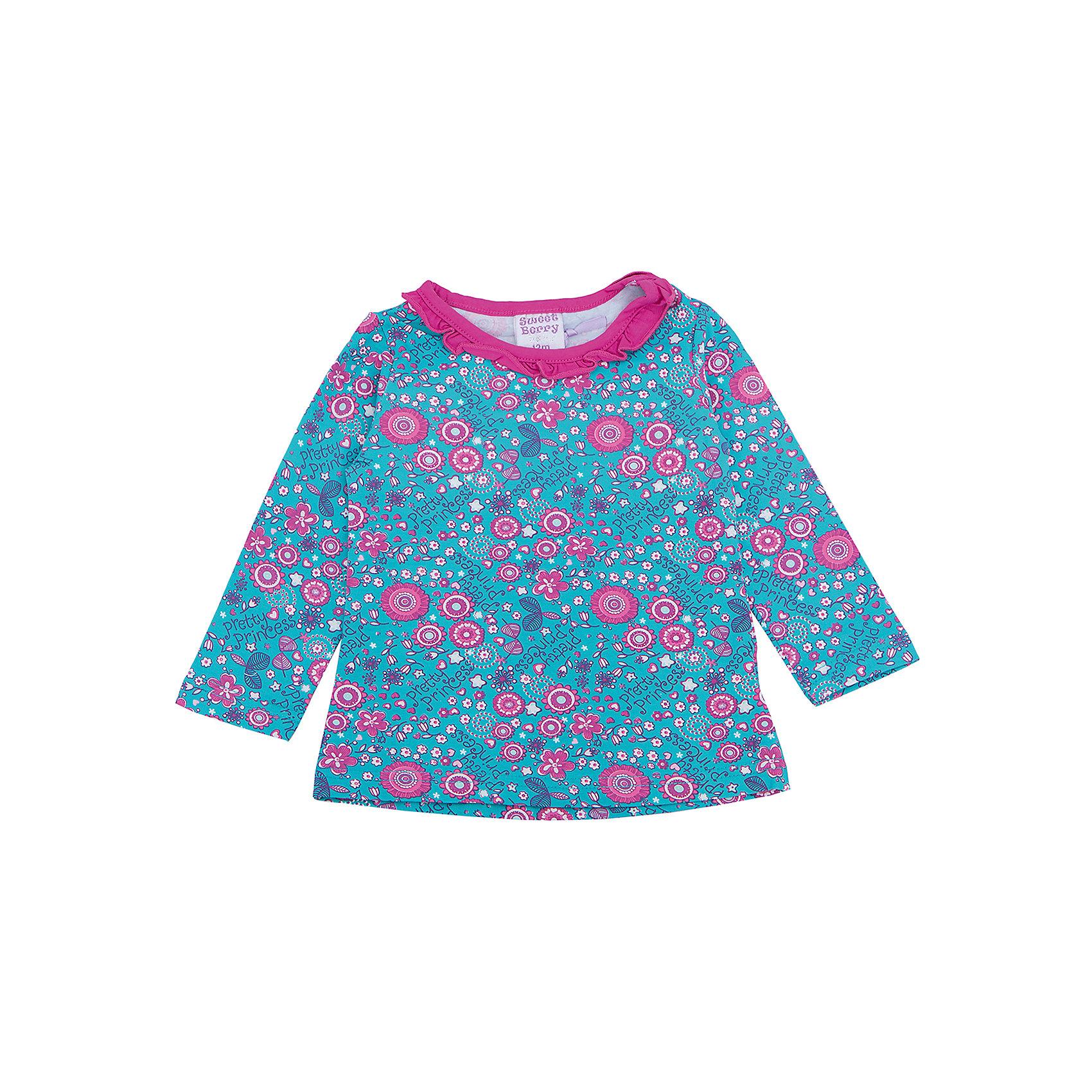 Футболка с длинным рукавом для девочки Sweet BerryТакая футболка с длинным рукавом для девочки отличается модным дизайном с ярким принтом. Удачный крой обеспечит ребенку комфорт и тепло. Горловина изделия выполнена из яркого контрастного трикотажа. Вещь плотно прилегает к телу там, где нужно, и отлично сидит по фигуре.<br>Одежда от бренда Sweet Berry - это простой и выгодный способ одеть ребенка удобно и стильно. Всё изделия тщательно проработаны: швы - прочные, материал - качественный, фурнитура - подобранная специально для детей. <br><br>Дополнительная информация:<br><br>цвет: голубой;<br>материал: 95% хлопок, 5% эластан;<br>декорирована принтом.<br><br>Футболку с длинным рукавом для девочки от бренда Sweet Berry можно купить в нашем интернет-магазине.<br><br>Ширина мм: 230<br>Глубина мм: 40<br>Высота мм: 220<br>Вес г: 250<br>Цвет: голубой<br>Возраст от месяцев: 24<br>Возраст до месяцев: 36<br>Пол: Женский<br>Возраст: Детский<br>Размер: 98,80,86,92<br>SKU: 4931133