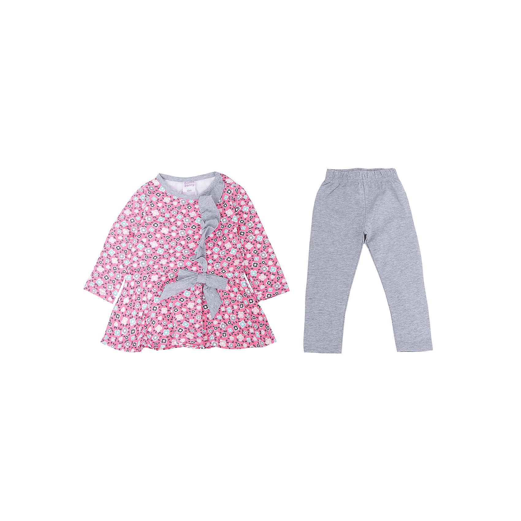 Комплект для девочки: платье и леггинсы Sweet BerryТакое платье с леггинсами отличается модным дизайном с ярким принтом. Удачный крой обеспечит ребенку комфорт и тепло. Плотный материал делает вещи идеальными для прохладной погоды. Они хорошо прилегают к телу там, где нужно, и отлично сидят по фигуре. Натуральный хлопок в составе ткани обеспечит коже возможность дышать и не вызовет аллергии.<br>Одежда от бренда Sweet Berry - это простой и выгодный способ одеть ребенка удобно и стильно. Всё изделия тщательно проработаны: швы - прочные, материал - качественный, фурнитура - подобранная специально для детей.<br><br>Дополнительная информация:<br><br>цвет: розовый;<br>материал: 95% хлопок, 5% эластан;<br>платье декорировано принтом и воланом.<br><br>Комплект для девочки: платье и леггинсы от бренда Sweet Berry можно купить в нашем интернет-магазине.<br><br>Ширина мм: 236<br>Глубина мм: 16<br>Высота мм: 184<br>Вес г: 177<br>Цвет: розовый<br>Возраст от месяцев: 12<br>Возраст до месяцев: 15<br>Пол: Женский<br>Возраст: Детский<br>Размер: 80,86,92,98<br>SKU: 4931193