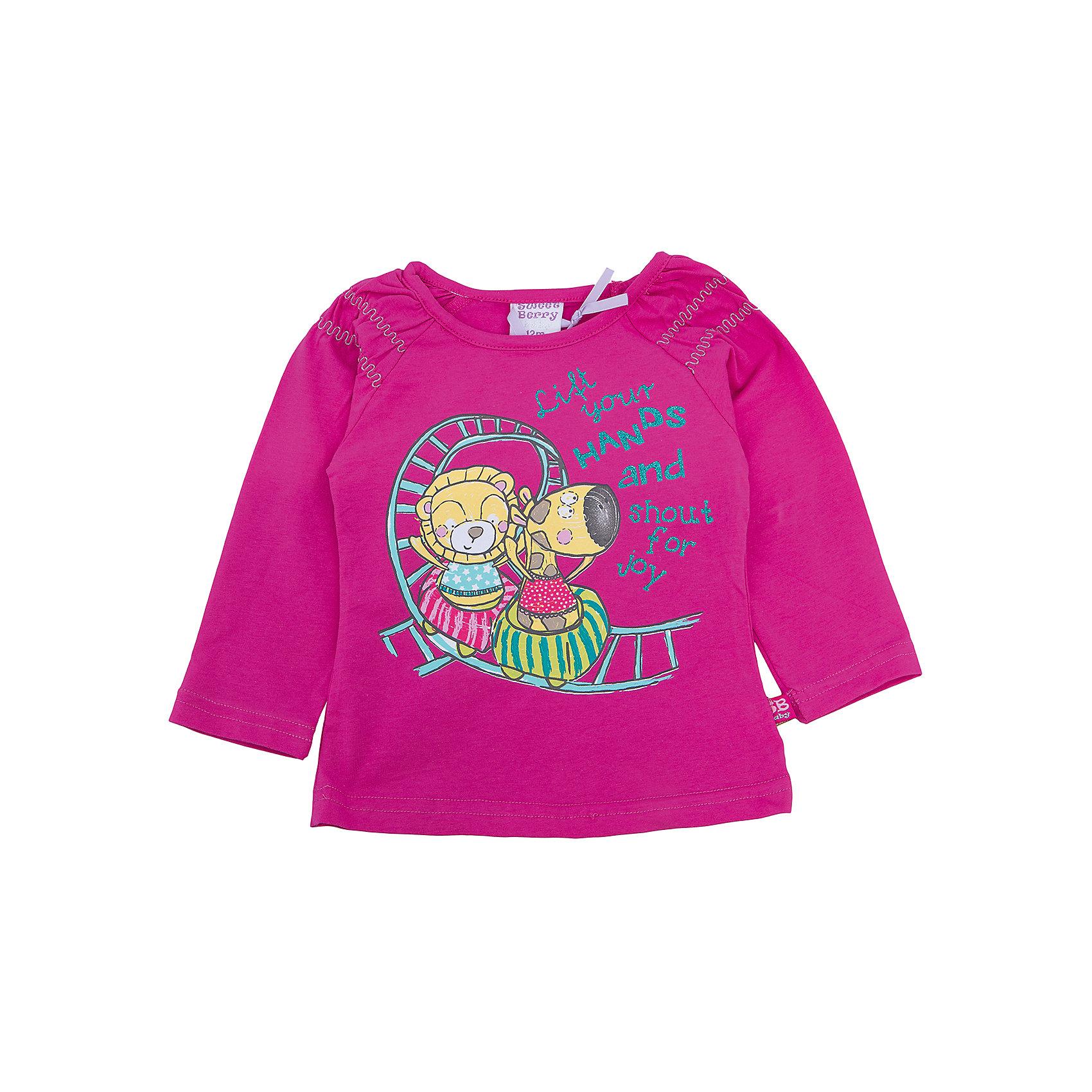 Футболка с длинным рукавом для девочки Sweet BerryФутболки, топы<br>Такая футболка с длинным рукавом для девочки отличается модным дизайном с ярким принтом. Удачный крой обеспечит ребенку комфорт и тепло. Рукава красиво присборены. Вещь плотно прилегает к телу там, где нужно, и отлично сидит по фигуре.<br>Одежда от бренда Sweet Berry - это простой и выгодный способ одеть ребенка удобно и стильно. Всё изделия тщательно проработаны: швы - прочные, материал - качественный, фурнитура - подобранная специально для детей. <br><br>Дополнительная информация:<br><br>цвет: розовый;<br>материал: 95% хлопок, 5% эластан;<br>декорирована принтом.<br><br>Футболку с длинным рукавом для девочки от бренда Sweet Berry можно купить в нашем интернет-магазине.<br><br>Ширина мм: 230<br>Глубина мм: 40<br>Высота мм: 220<br>Вес г: 250<br>Цвет: розовый<br>Возраст от месяцев: 24<br>Возраст до месяцев: 36<br>Пол: Женский<br>Возраст: Детский<br>Размер: 98,80,86,92<br>SKU: 4931268