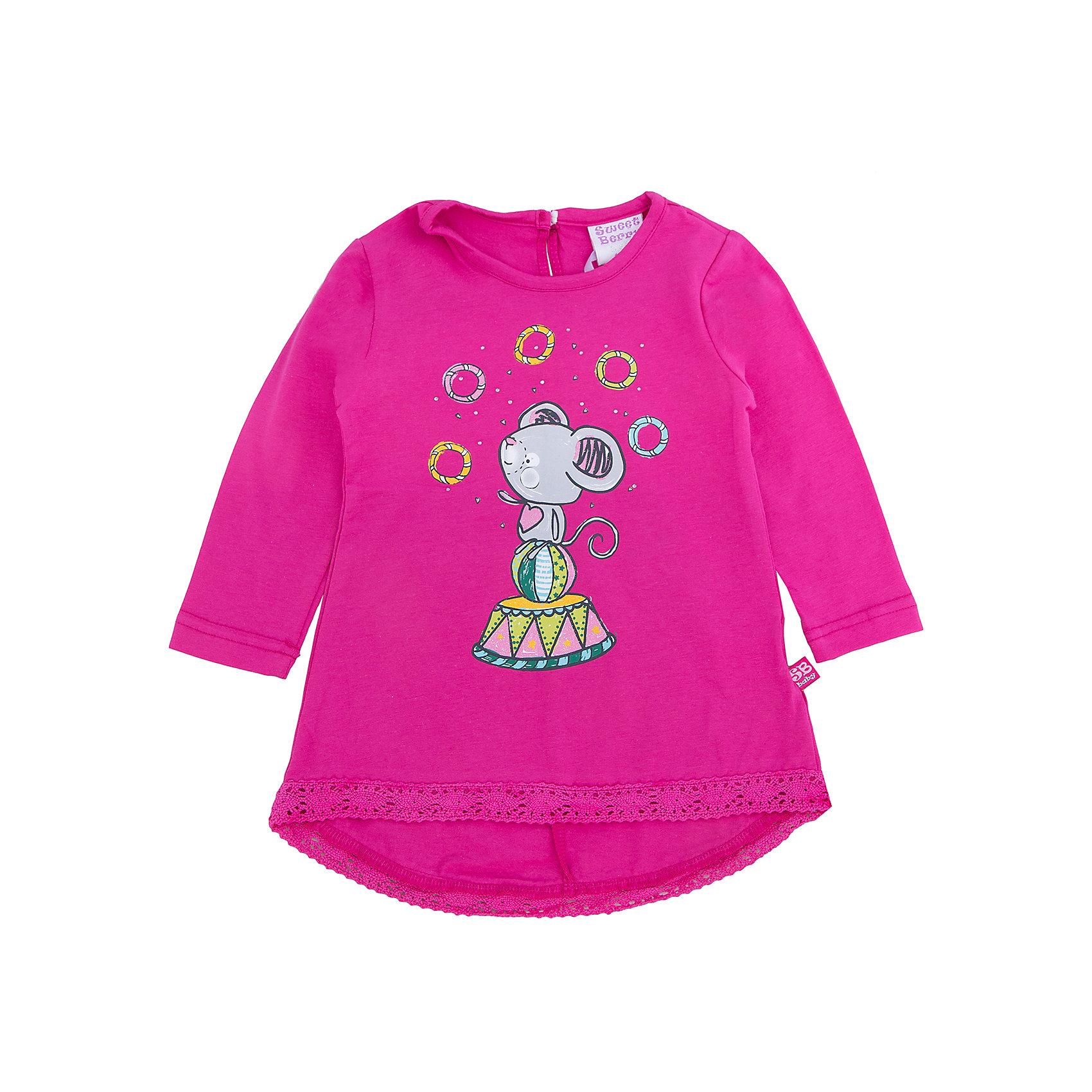 Платье для девочки Sweet BerryПлатья<br>Такое платье отличается модным дизайном с принтом и кружевои по низу. Удачный крой обеспечит ребенку комфорт и тепло. Плотный материал делает вещь идеальной для прохладной погоды. Она хорошо прилегает к телу там, где нужно, и отлично сидит по фигуре. Натуральный хлопок в составе материала обеспечит коже возможность дышать и не вызовет аллергии.<br>Одежда от бренда Sweet Berry - это простой и выгодный способ одеть ребенка удобно и стильно. Всё изделия тщательно проработаны: швы - прочные, материал - качественный, фурнитура - подобранная специально для детей.<br><br>Дополнительная информация:<br><br>цвет: розовый;<br>материал: 60% хлопок, 40% акрил;<br>декорировано принтом и кружевом.<br><br>Платье для девочки от бренда Sweet Berry можно купить в нашем интернет-магазине.<br><br>Ширина мм: 236<br>Глубина мм: 16<br>Высота мм: 184<br>Вес г: 177<br>Цвет: розовый<br>Возраст от месяцев: 12<br>Возраст до месяцев: 18<br>Пол: Женский<br>Возраст: Детский<br>Размер: 86,98,80,92<br>SKU: 4931278