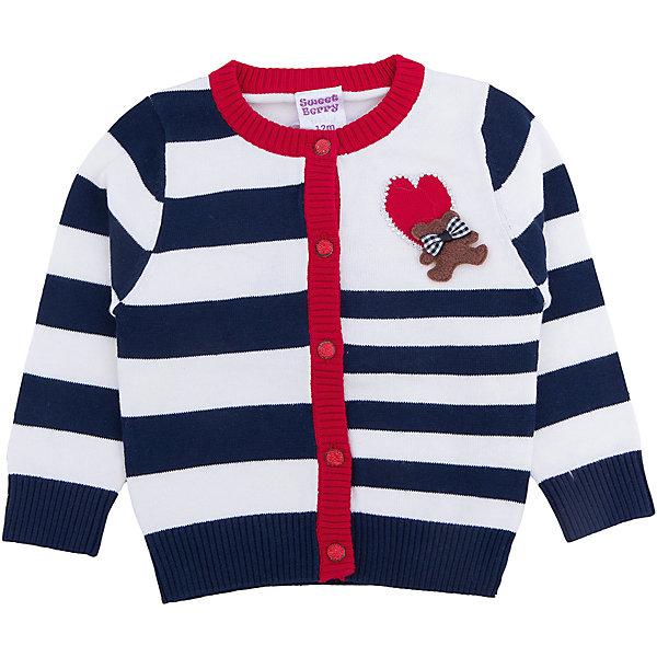 Кардиган для девочки Sweet BerryТолстовки, свитера, кардиганы<br>Этот кардиган для девочки отличается модным дизайном: смешение базовых цветов добавляет изделию оригинальности. Удачный крой обеспечит ребенку комфорт и тепло. Края изделия обработаны мягкой резинкой, поэтому вещь плотно прилегает к телу там, где нужно, и отлично сидит по фигуре. На жакете - удобные пуговицы.<br>Одежда от бренда Sweet Berry - это простой и выгодный способ одеть ребенка удобно и стильно. Всё изделия тщательно проработаны: швы - прочные, материал - качественный, фурнитура - подобранная специально для детей. <br><br>Дополнительная информация:<br><br>цвет: разноцветный;<br>материал: 100 % хлопок;<br>украшен рисунком и брошью;<br>застежка: пуговицы.<br><br>Жакет для девочки от бренда Sweet Berry можно купить в нашем интернет-магазине.<br>Ширина мм: 190; Глубина мм: 74; Высота мм: 229; Вес г: 236; Цвет: синий; Возраст от месяцев: 12; Возраст до месяцев: 15; Пол: Женский; Возраст: Детский; Размер: 80,98,92,86; SKU: 4931318;