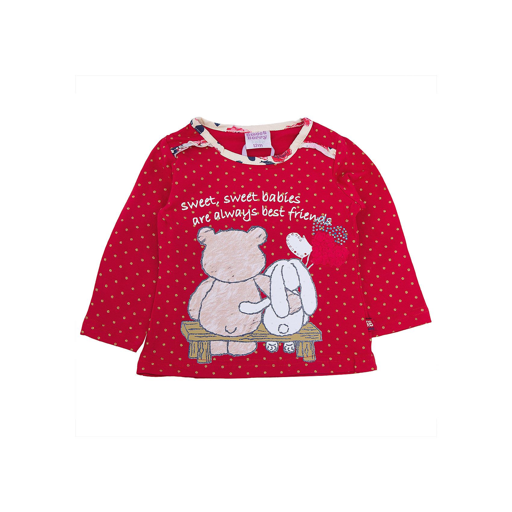 Футболка с длинным рукавом для девочки Sweet BerryФутболки с длинным рукавом<br>Такая футболка с длинным рукавом для девочки отличается модным дизайном с ярким принтом и воланами. Удачный крой обеспечит ребенку комфорт и тепло. Вещь плотно прилегает к телу там, где нужно, и отлично сидит по фигуре.<br>Одежда от бренда Sweet Berry - это простой и выгодный способ одеть ребенка удобно и стильно. Всё изделия тщательно проработаны: швы - прочные, материал - качественный, фурнитура - подобранная специально для детей. <br><br>Дополнительная информация:<br><br>цвет: бежевый;<br>материал: 95% хлопок, 5% эластан;<br>декорирована принтом.<br><br>Футболку с длинным рукавом для девочки от бренда Sweet Berry можно купить в нашем интернет-магазине.<br><br>Ширина мм: 230<br>Глубина мм: 40<br>Высота мм: 220<br>Вес г: 250<br>Цвет: красный<br>Возраст от месяцев: 18<br>Возраст до месяцев: 24<br>Пол: Женский<br>Возраст: Детский<br>Размер: 92,98,80,86<br>SKU: 4931333