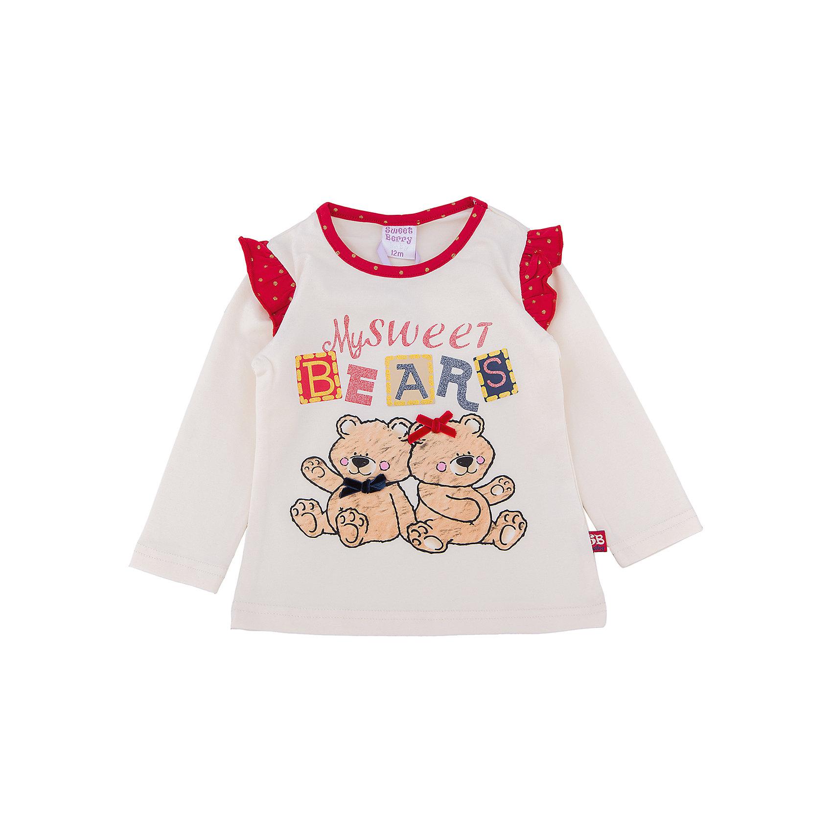 Футболка с длинным рукавом для девочки Sweet BerryЭта футболка с длинным рукавом для девочки отличается модным дизайном с ярким принтом. Удачный крой обеспечит ребенку комфорт и тепло. Горловина изделия выполнена из яркого контрастного трикотажа. Вещь плотно прилегает к телу там, где нужно, и отлично сидит по фигуре.<br>Одежда от бренда Sweet Berry - это простой и выгодный способ одеть ребенка удобно и стильно. Всё изделия тщательно проработаны: швы - прочные, материал - качественный, фурнитура - подобранная специально для детей. <br><br>Дополнительная информация:<br><br>цвет: белый;<br>материал: 95% хлопок, 5% эластан;<br>декорирована принтом.<br><br>Футболку с длинным рукавом для девочки от бренда Sweet Berry можно купить в нашем интернет-магазине.<br><br>Ширина мм: 230<br>Глубина мм: 40<br>Высота мм: 220<br>Вес г: 250<br>Цвет: бежевый<br>Возраст от месяцев: 12<br>Возраст до месяцев: 15<br>Пол: Женский<br>Возраст: Детский<br>Размер: 80,98,92,86<br>SKU: 4931338
