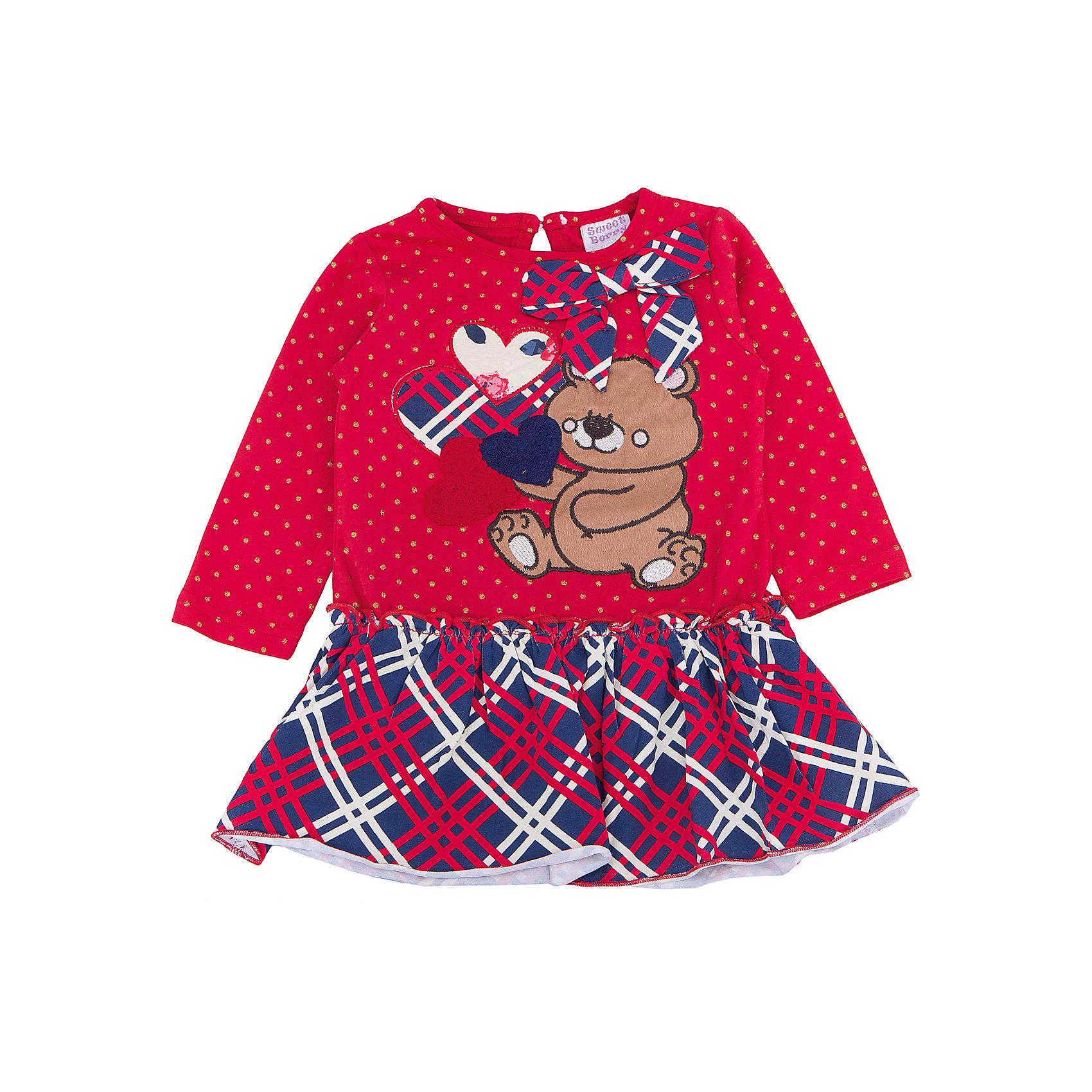 Платье для девочки Sweet BerryПлатья и сарафаны<br>Такое платье отличается модным дизайном с принтом и бантом. Удачный крой обеспечит ребенку комфорт и тепло. Плотный материал делает вещь идеальной для прохладной погоды. Она хорошо прилегает к телу там, где нужно, и отлично сидит по фигуре. Натуральный хлопок в составе трикотажа обеспечит коже возможность дышать и не вызовет аллергии.<br>Одежда от бренда Sweet Berry - это простой и выгодный способ одеть ребенка удобно и стильно. Всё изделия тщательно проработаны: швы - прочные, материал - качественный, фурнитура - подобранная специально для детей.<br><br>Дополнительная информация:<br><br>цвет: красный;<br>состав: 95% хлопок, 5% эластан;<br>декорировано принтом и бантом.<br><br>Платье для девочки от бренда Sweet Berry можно купить в нашем интернет-магазине.<br><br>Ширина мм: 236<br>Глубина мм: 16<br>Высота мм: 184<br>Вес г: 177<br>Цвет: красный<br>Возраст от месяцев: 12<br>Возраст до месяцев: 15<br>Пол: Женский<br>Возраст: Детский<br>Размер: 80,98,86,92<br>SKU: 4931343