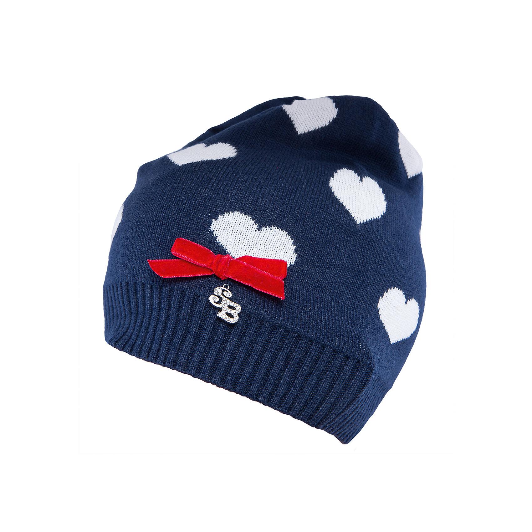 Шапка для девочки Sweet BerryТакая шапка для девочки отличается модным дизайном: смешение контрастных цветов и узор сердечки добавляют изделию оригинальности. Удачный крой обеспечит ребенку комфорт и тепло. Край изделия обработан мягкой резинкой, поэтому вещь плотно прилегает к голове. Украшена шапка симпатичным бантиком.<br>Одежда от бренда Sweet Berry - это простой и выгодный способ одеть ребенка удобно и стильно. Всё изделия тщательно проработаны: швы - прочные, материал - качественный, фурнитура - подобранная специально для детей. <br><br>Дополнительная информация:<br><br>цвет: синий;<br>материал: 100% хлопок;<br>украшена узором и бантиком.<br><br>Шапку для девочки от бренда Sweet Berry можно купить в нашем интернет-магазине.<br><br>Ширина мм: 89<br>Глубина мм: 117<br>Высота мм: 44<br>Вес г: 155<br>Цвет: синий<br>Возраст от месяцев: 24<br>Возраст до месяцев: 36<br>Пол: Женский<br>Возраст: Детский<br>Размер: 50,54,52<br>SKU: 4931437