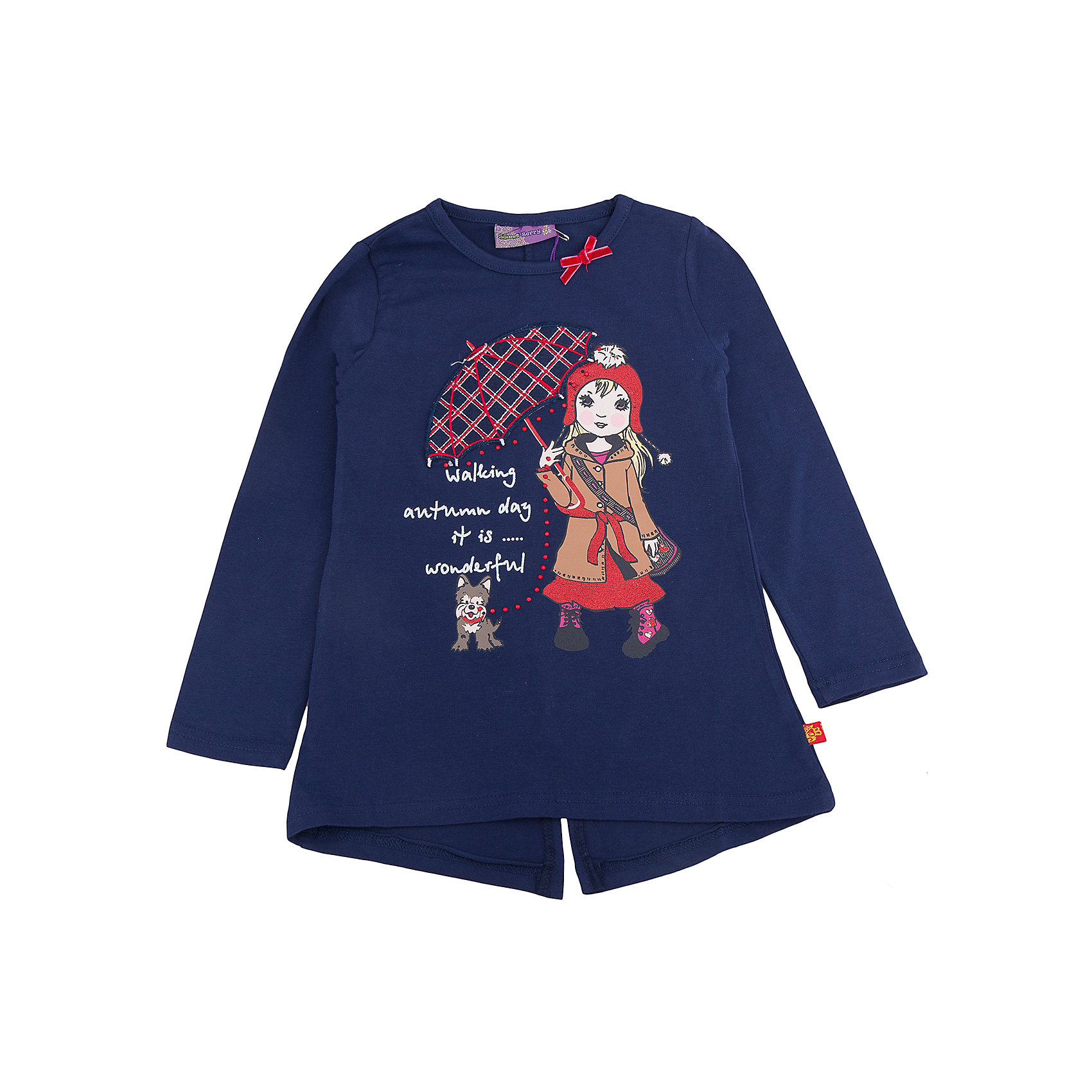 Футболка с длинным рукавом для девочки Sweet BerryФутболки с длинным рукавом<br>Эта футболка с длинным рукавом для девочки отличается модным дизайном с ярким принтом. Удачный крой обеспечит ребенку комфорт и тепло. Вещь плотно прилегает к телу там, где нужно, и отлично сидит по фигуре.<br>Одежда от бренда Sweet Berry - это простой и выгодный способ одеть ребенка удобно и стильно. Всё изделия тщательно проработаны: швы - прочные, материал - качественный, фурнитура - подобранная специально для детей. <br><br>Дополнительная информация:<br><br>цвет: синий;<br>материал: 95% хлопок, 5% эластан;<br>декорирована принтом и аппликацией.<br><br>Футболку с длинным рукавом для девочки от бренда Sweet Berry можно купить в нашем интернет-магазине.<br><br>Ширина мм: 230<br>Глубина мм: 40<br>Высота мм: 220<br>Вес г: 250<br>Цвет: синий<br>Возраст от месяцев: 24<br>Возраст до месяцев: 36<br>Пол: Женский<br>Возраст: Детский<br>Размер: 98,104,110,116,122,128<br>SKU: 4931469