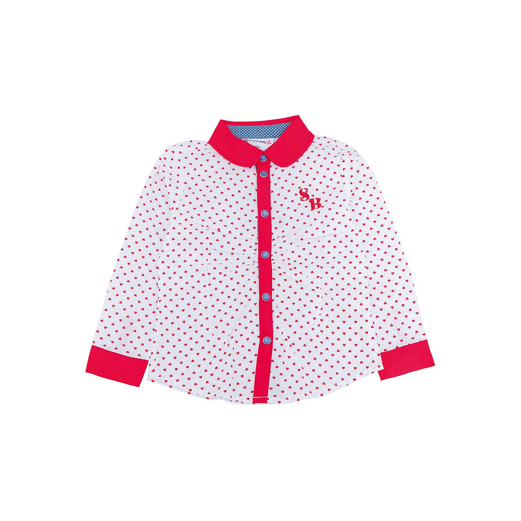 Блузка для девочки Sweet BerryБлузки и рубашки<br>Такая блузка для девочки отличается модным дизайном с ярким принтом. Удачный крой обеспечит ребенку комфорт и тепло. Вещь плотно прилегает к телу там, где нужно, и отлично сидит по фигуре. Декорирована защипами на полочке.<br>Одежда от бренда Sweet Berry - это простой и выгодный способ одеть ребенка удобно и стильно. Всё изделия тщательно проработаны: швы - прочные, материал - качественный, фурнитура - подобранная специально для детей. <br><br>Дополнительная информация:<br><br>цвет: красный;<br>материал: 100% хлопок;<br>застежки: кнопки.<br><br>Блузку для девочки от бренда Sweet Berry можно купить в нашем интернет-магазине.<br><br>Ширина мм: 186<br>Глубина мм: 87<br>Высота мм: 198<br>Вес г: 197<br>Цвет: красный<br>Возраст от месяцев: 24<br>Возраст до месяцев: 36<br>Пол: Женский<br>Возраст: Детский<br>Размер: 98,104,110,116,122,128<br>SKU: 4931511