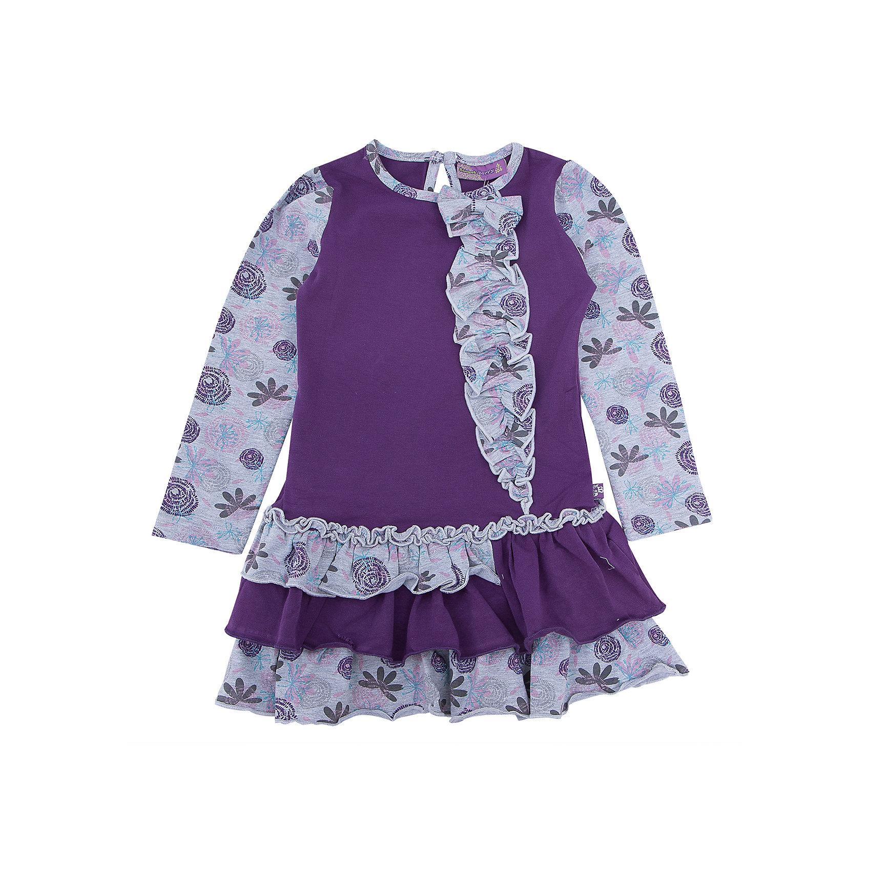 Платье для девочки Sweet BerryПлатье – типичная одежда для романтичного девчачьего образа. Трикотажное платье – универсальный вариант для прогулки, похода в гости и просто наряда для выходного дня. Веселый принт, привлекающий внимание, делает платье заметным, а нежные цвета успокаивают вещь. Оригинальности модели добавляют воланы на юбке и контрастные длинные рукава, которые защитят от холода руки малышки. Материалы, использованные при изготовлении одежды, полностью безопасны для детей и отвечают всем требованиям по качеству продукции данной категории.<br><br>Дополнительная информация: <br><br>модный принт;<br>воланы на юбке;<br>цвет: фиолетовый;<br>материал: хлопок 95%, эластан 5%.<br><br>Платье для девочки от компании Sweet Berry можно приобрести в нашем магазине.<br><br>Ширина мм: 236<br>Глубина мм: 16<br>Высота мм: 184<br>Вес г: 177<br>Цвет: фиолетовый<br>Возраст от месяцев: 24<br>Возраст до месяцев: 36<br>Пол: Женский<br>Возраст: Детский<br>Размер: 98,116,110,104,122,128<br>SKU: 4931778