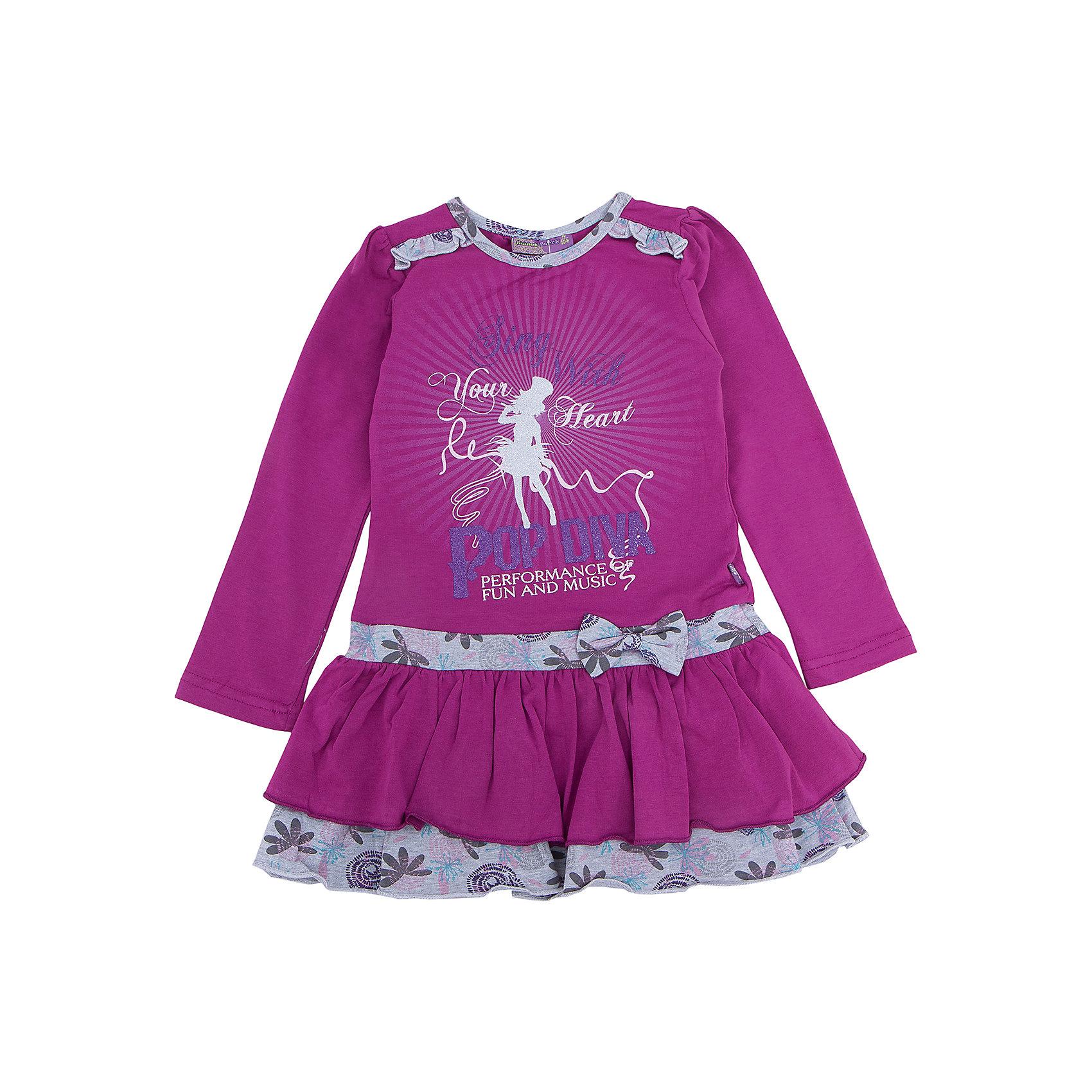 Платье для девочки Sweet BerryОсенне-зимние платья и сарафаны<br>Платье – типичная одежда для романтичного девчачьего образа. Трикотажное платье – универсальный вариант для прогулки, похода в гости и просто наряда для выходного дня. Веселый принт, привлекающий внимание, делает платье заметным, а нежные цвета успокаивают вещь. Оригинальности модели добавляют воланы на юбке и контрастные длинные рукава, которые защитят от холода руки малышки. Материалы, использованные при изготовлении одежды, полностью безопасны для детей и отвечают всем требованиям по качеству продукции данной категории.<br><br>Дополнительная информация: <br><br>модный принт;<br>воланы на юбке, рюши;<br>цвет: лиловый;<br>материал: хлопок 95%, эластан 5%.<br><br>Платье для девочки от компании Sweet Berry можно приобрести в нашем магазине.<br><br>Ширина мм: 236<br>Глубина мм: 16<br>Высота мм: 184<br>Вес г: 177<br>Цвет: фиолетовый<br>Возраст от месяцев: 24<br>Возраст до месяцев: 36<br>Пол: Женский<br>Возраст: Детский<br>Размер: 98,104,110,116,122,128<br>SKU: 4931785