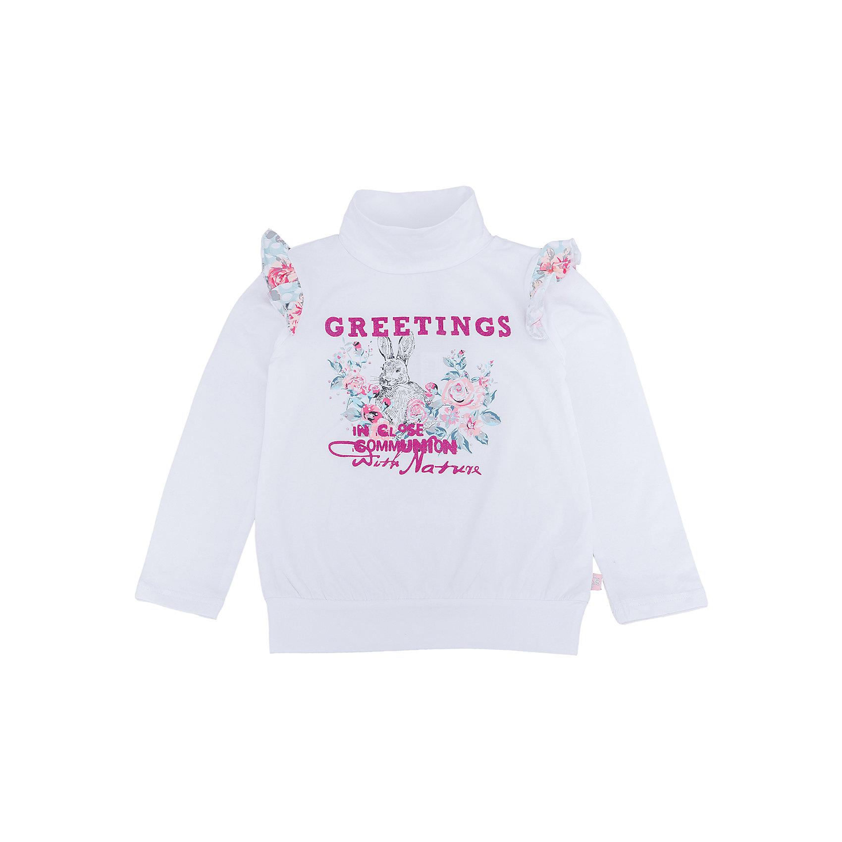 Водолазка для девочки Sweet BerryВодолазки<br>Водолазка – стильная и удобная вещь, которая способна одновременно создать стильный образ и защитить от осенних холодов маленького ребенка. Воланы на рукавах контрастного материала – особенность модели из новой коллекции. Насыщенный цвет, не теряющий сочность со временем, приятная к телу ткань и модный принт образуют уникальную футболку для девочки. Универсальный крой поможет создать множество образов. Материалы, использованные при изготовлении одежды, полностью безопасны для детей и отвечают всем требованиям по качеству продукции данной категории.<br><br>Дополнительная информация: <br><br>воланы на плечах;<br>модный принт;<br>прямой силуэт;<br>цвет: белый;<br>материал: хлопок 95%, эластан 5%.<br><br>Водолазку для девочки от компании Sweet Berry можно приобрести в нашем магазине.<br><br>Ширина мм: 230<br>Глубина мм: 40<br>Высота мм: 220<br>Вес г: 250<br>Цвет: белый<br>Возраст от месяцев: 84<br>Возраст до месяцев: 96<br>Пол: Женский<br>Возраст: Детский<br>Размер: 128,98,104,110,116,122<br>SKU: 4931876