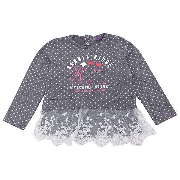 Футболка с длинным рукавом для девочки Sweet BerryФутболки с длинным рукавом<br>Комфорт и стиль – две главные составляющие детской одежды. Футболка с длинным рукавом – модная вещь, которая способна одновременно создать стильный образ и защитить от осенних холодов маленького ребенка. Уникальная особенность модели – интересная отделка кружевом контрастного цвета по низу футболки. С ним кофта выглядит нарядно и совсем не скучно. Универсальный крой поможет создать множество образов. Материалы, использованные при изготовлении одежды, полностью безопасны для детей и отвечают всем требованиям по качеству продукции данной категории.<br><br>Дополнительная информация:<br><br>модный принт;<br>кружевная отделка;<br>прямой силуэт;<br>цвет: темно-серый;<br>материал: хлопок 95%, эластан 5%.<br><br>Футболку с длинным рукавом для девочки от компании Sweet Berry можно приобрести в нашем магазине.<br><br>Ширина мм: 230<br>Глубина мм: 40<br>Высота мм: 220<br>Вес г: 250<br>Цвет: серый<br>Возраст от месяцев: 72<br>Возраст до месяцев: 84<br>Пол: Женский<br>Возраст: Детский<br>Размер: 122,98,104,128,116,110<br>SKU: 4931890