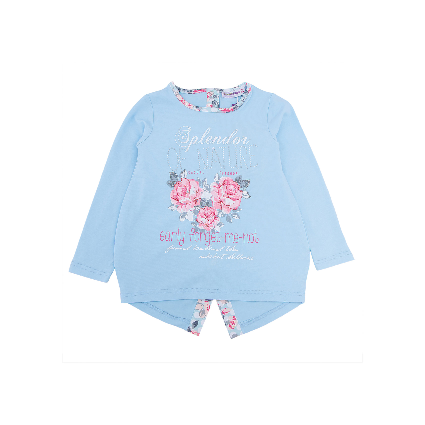 Футболка с длинным рукавом для девочки Sweet BerryКомфорт и стиль – две главные составляющие детской одежды. Футболка с длинным рукавом – модная вещь, которая способна одновременно создать стильный образ и защитить от осенних холодов маленького ребенка. Уникальная особенность модели – планка на спине по низу футболки. С ней кофта выглядит нарядно и совсем не скучно. Универсальный крой поможет создать множество образов. Материалы, использованные при изготовлении одежды, полностью безопасны для детей и отвечают всем требованиям по качеству продукции данной категории.<br><br>Дополнительная информация: <br><br>модный принт;<br>планка на спине;<br>прямой силуэт;<br>цвет: голубой;<br>материал: хлопок 95%, эластан 5%.<br><br>Футболку с длинным рукавом для девочки от компании Sweet Berry можно приобрести в нашем магазине<br><br>Ширина мм: 230<br>Глубина мм: 40<br>Высота мм: 220<br>Вес г: 250<br>Цвет: голубой<br>Возраст от месяцев: 60<br>Возраст до месяцев: 72<br>Пол: Женский<br>Возраст: Детский<br>Размер: 116,104,98,128,122,110<br>SKU: 4931897