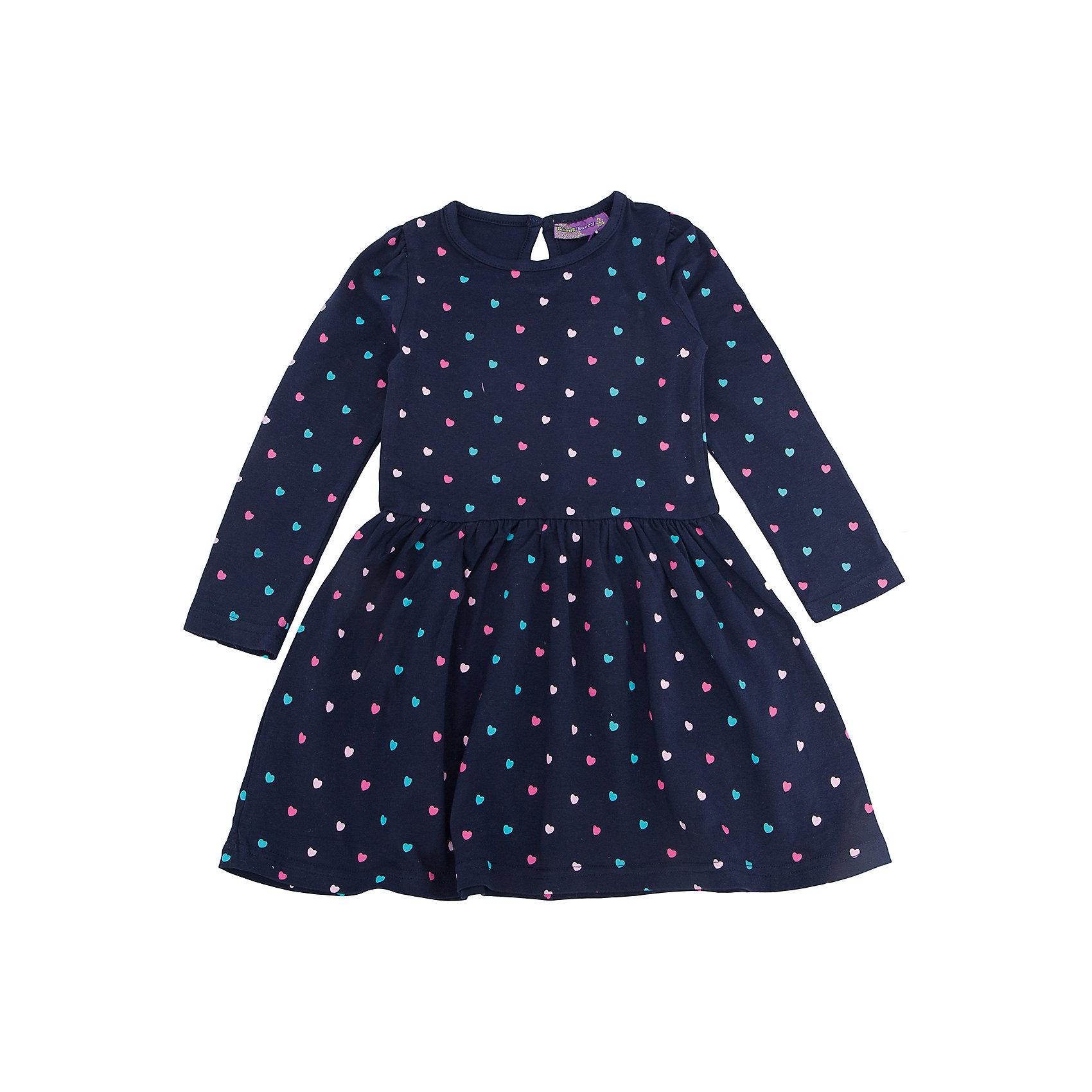 Платье для девочки Sweet BerryПлатье – та вещь, которая обязательно должна присутствовать в гардеробе каждой девочки. Нежное платье из новой коллекции фирмы Sweet Berry – романтичная модель для не менее романтичной девочки. Юбка у платья расклешена и имеет сборку в уровне шва. На всем платье присутствует принт «сердечко». Цвет платья сочетается практически с любыми вещами и позволяет создать множество стильных образов. Материалы, использованные при изготовлении одежды, полностью безопасны для детей и отвечают всем требованиям по качеству продукции данной категории.<br><br>Дополнительная информация: <br><br>расклешенная юбка;<br>принт «сердечко»;<br>цвет: темно-синий;<br>материал: хлопок 95%, эластан 5%.<br><br>Платье для девочки от компании Sweet Berry можно приобрести в нашем магазине.<br><br>Ширина мм: 236<br>Глубина мм: 16<br>Высота мм: 184<br>Вес г: 177<br>Цвет: синий<br>Возраст от месяцев: 24<br>Возраст до месяцев: 36<br>Пол: Женский<br>Возраст: Детский<br>Размер: 98,104,128,122,116,110<br>SKU: 4932049
