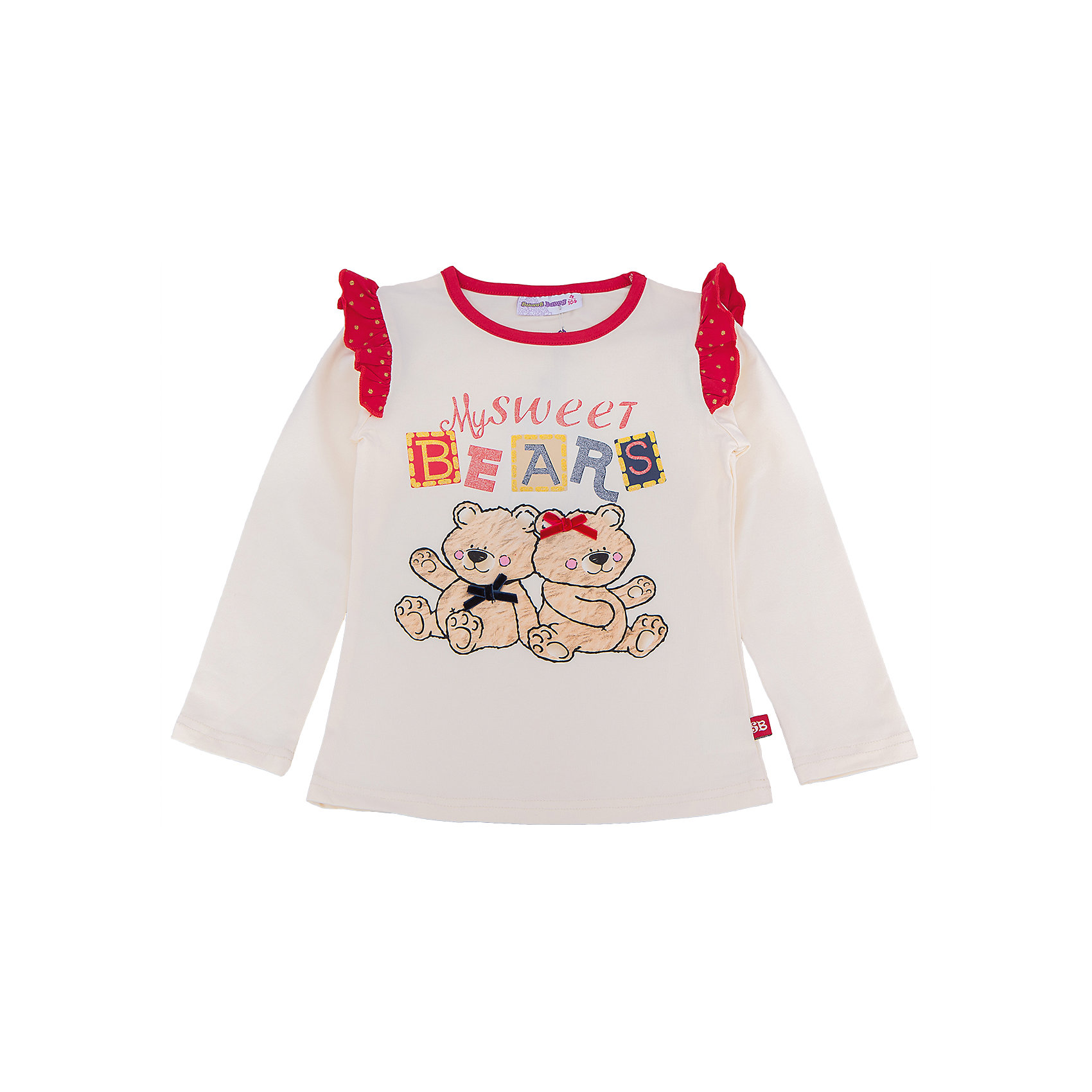 Футболка с длинным рукавом для девочки Sweet BerryФутболка с длинным рукавом – стильная и удобная вещь, которая способна одновременно создать стильный образ и защитить от осенних холодов маленького ребенка. Воланы на рукавах контрастного материала – особенность модели из новой коллекции. Насыщенный цвет, не теряющий сочность со временем, приятная к телу ткань и модный принт образуют уникальную футболку для девочки. Универсальный крой поможет создать множество образов. Материалы, использованные при изготовлении одежды, полностью безопасны для детей и отвечают всем требованиям по качеству продукции данной категории.<br><br>Дополнительная информация: <br><br>воланы на плечах;<br>модный принт;<br>прямой силуэт;<br>цвет: бежевый;<br>материал: хлопок 95%, эластан 5%.<br><br>Футболку с длинным рукавом от компании Sweet Berry можно приобрести в нашем магазине.<br><br>Ширина мм: 230<br>Глубина мм: 40<br>Высота мм: 220<br>Вес г: 250<br>Цвет: бежевый<br>Возраст от месяцев: 24<br>Возраст до месяцев: 36<br>Пол: Женский<br>Возраст: Детский<br>Размер: 98,104,110,116,122,128<br>SKU: 4932152