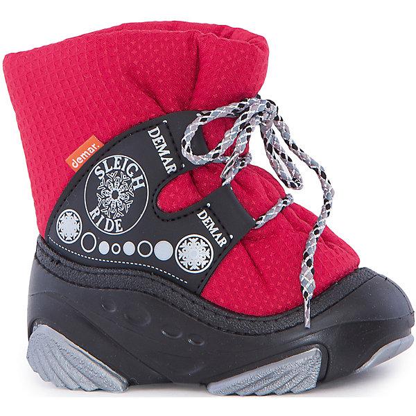 Сноубутсы Snow Ride demarСноубутсы<br>Характеристики товара:<br><br>• цвет: красный<br>• материал верха: текстиль<br>• материал подкладки: 100% натуральная шерсть <br>• материал подошвы: ТЭП<br>• температурный режим: от -20° до 0° С<br>• верх не продувается, пропитка от грязи и влаги<br>• анискользящая подошва<br>• застежка: шнурок<br>• толстая устойчивая подошва<br>• усиленные пятка и носок<br>• страна бренда: Польша<br>• страна изготовитель: Польша<br><br>Зима - это время катания с горок, игр в снежки, лепки снеговиков и прогулок в снегопад! Чтобы не пропустить главные зимние удовольствия, нужно запастись теплой и удобной обувью. Такие сноубутсы обеспечат ребенку необходимый для активного отдыха комфорт, а подкладка из натуральной овечьей шерсти позволит ножкам оставаться теплыми. Сноубутсы легко надеваются и снимаются, отлично сидят на ноге. <br>Обувь от польского бренда Demar - это качественные товары, созданные с применением новейших технологий и с использованием как натуральных, так и высокотехнологичных материалов. Обувь отличается стильным дизайном и продуманной конструкцией. Изделие производится из качественных и проверенных материалов, которые безопасны для детей.<br><br>Сноубутсы Snow Ride от бренда Demar (Демар) можно купить в нашем интернет-магазине.<br>Ширина мм: 257; Глубина мм: 180; Высота мм: 130; Вес г: 420; Цвет: красный; Возраст от месяцев: 48; Возраст до месяцев: 60; Пол: Унисекс; Возраст: Детский; Размер: 28/29,26/27,24/25,22/23,20/21; SKU: 4934665;