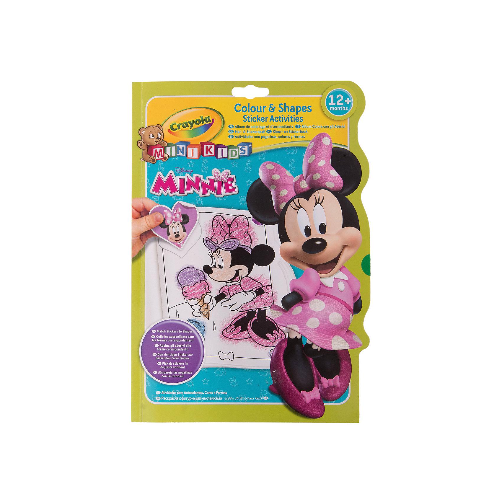 Раскраска с фигурными наклейками Минни МаусMinnie Mouse Товары для фанатов<br>Раскраска с фигурными наклейками Минни Маус включает в себя листы для раскрашивания, а также дополнительные листы с наклейками. На каждой странице изображены известные персонажи мультфильма «Микки Маус». Фигурные наклейки можно приклеить в специальные места, которые ребёнок определит в соответствии с силуэтом. Изделие выполнено из прочной и качественной бумаги, так что ребёнок сможет раскрашивать как карандашами, так и фломастерами. Наклейки помогут определить ребёнку, в какой цветовой гамме нужно раскрасить персонажей.  . Раскрашивая чёрно-белые картинки, ребёнок научится различать палитру цветов и обретёт навыки рисования.<br><br>В набор входит:<br>-раскраска<br>-листы с наклейками<br><br>Дополнительная информация:<br>-Бренд:Crayola(Крайола)- бренд художественных изделий<br>-Возраст: от 3 лет<br>-Для мальчиков и девочек<br>-Цвет: разноцветная<br>-Состав изделия: картон, бумага<br>-Размер изделия:30 х 1 х 20<br>-Страна обладатель бренда: США.<br><br>Ширина мм: 300<br>Глубина мм: 10<br>Высота мм: 200<br>Вес г: 180<br>Возраст от месяцев: 36<br>Возраст до месяцев: 96<br>Пол: Женский<br>Возраст: Детский<br>SKU: 4936096