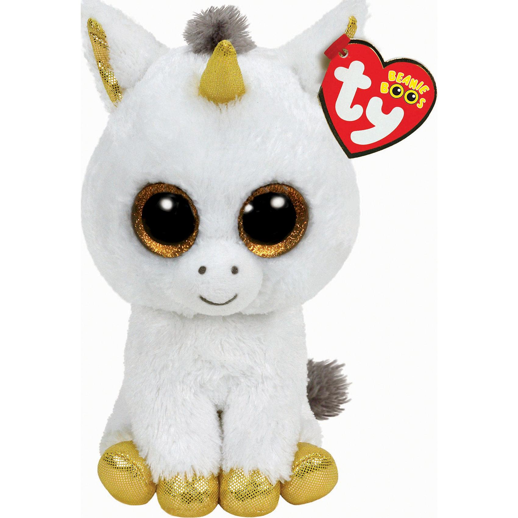 Единорог Pegasus, 15,24 смМягкие игрушки животные<br>Единорог Pegasus, 15,24 см – игрушка от бренда TY Inc (ТАЙ Инкорпорейтед), знаменитого своими мягкими игрушками, в качестве наполнителя для которых используются гранулы. Единорог выполнен из качественного и гипоаллергенного плюша с ворсом средней длины белого и золотистого цветов. Используемые материалы делают игрушку прочной, устойчивой к изменению цвета и формы, ее разрешается стирать.<br>Единорог Pegasus, 15,24 см TY Inc непременно станет любимой игрушкой для вашего ребенка, а уникальный наполнитель будет способствовать  не  только развитию мелкой моторики пальцев, но и оказывать релаксирующее воздействие.<br><br>Дополнительная информация:<br><br>- Вид игр: сюжетно-ролевые игры, интерьерные игрушки, для коллекционирования<br>- Предназначение: для дома<br>- Материал: искусственный мех, пластик, наполнитель ? гранулы<br>- Высота: 15, 24 см<br>- Особенности ухода: разрешается стирка<br>Подробнее:<br><br>• Для детей в возрасте: от 3 лет <br>• Страна производитель: Китай<br>• Торговый бренд: TY Inc <br><br>Единорога Pegasus, 15,24 см можно купить в нашем интернет-магазине.<br><br>Ширина мм: 9999<br>Глубина мм: 9999<br>Высота мм: 9999<br>Вес г: 9999<br>Возраст от месяцев: 36<br>Возраст до месяцев: 2147483647<br>Пол: Унисекс<br>Возраст: Детский<br>SKU: 4936259