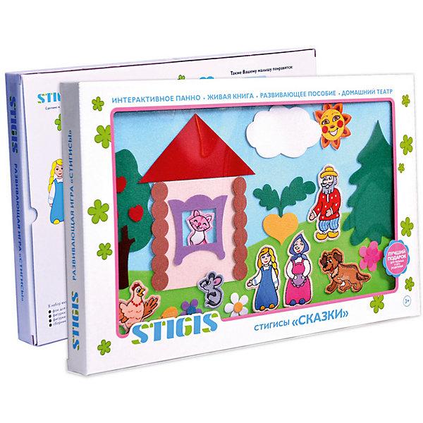 Игра на липучках Сказки (основной набор), StigisКниги для развития речи<br>Стигисы Сказки (основной набор), Стигис от компании Стигис ТМ – это новое направление в развивающих игрушках для детей. Стигисы выполнены по инновационной технологии, представляющей собой основное поле и набор из фигурок- аппликаций. Фигурки крепятся на поле за счет невидимых и безопасных липучек. Стигисы Сказки позволят создать домашний театр и воспроизводить не только уже знакомые всем сюжеты, но и придумывать новые истории. Все элементы набора выполнены из качественных материалов, которые устойчивы к деформации и изменению цвета. Комплектация набора позволяет воссоздать сюжеты таких сказок, как Репка, Курочка ряба и 10 сюжетов о Василисочке. <br>Стигисы Сказки (основной набор) способствуют развитию зрительного и тактильного восприятия у ребенка, расширяют словарный запас, развивают память и связную речь. Основной набор может быть дополнен фигурками и элементами из других наборов. <br><br>Дополнительная информация:<br><br>- Вид игр: сюжетно-ролевые игры, развивающие<br>- Предназначение: для дома, для детских садов, для развивающих центров<br>- Материал: текстиль<br>- Комплектация: фон-экран размером 50*30 см, 8 сказочных героев, 23 элемента для создания декораций, книга сказок и рекомендации<br>- Размер упаковки (ДхШхВ): 50,5*31,5*3,8 см<br>- Вес: 590 г<br>- Особенности ухода: допускается сухая чистка<br><br>Подробнее:<br><br>• Для детей в возрасте: от 3 месяцев и до 6 лет <br>• Страна производитель: Россия<br>• Торговый бренд: Стигис ТМ<br><br>Стигисы Сказки (основной набор), Стигис можно купить в нашем интернет-магазине.<br><br>Ширина мм: 505<br>Глубина мм: 315<br>Высота мм: 38<br>Вес г: 590<br>Возраст от месяцев: 12<br>Возраст до месяцев: 72<br>Пол: Унисекс<br>Возраст: Детский<br>SKU: 4936342