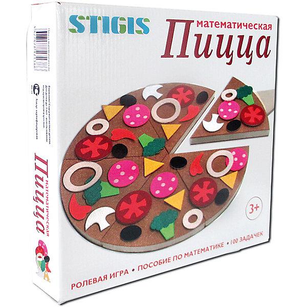 Игра на липучках Пицца математическая, StigisПособия для обучения счёту<br>Стигисы Пицца математическая, Стигис от компании Стигис ТМ – это новое направление в развивающих игрушках для детей. Стигисы выполнены по инновационной технологии, представляющей собой основное поле и набор из фигурок- аппликаций. Элементы крепятся на поле за счет невидимых и безопасных липучек. Все элементы набора выполнены из качественных материалов, которые устойчивы к деформации и изменению цвета. Комплектация набора включает в себя модель пиццы, выполненную на плотном поролоне,  подложку, кусочки ингредиентов на липучках, разделочную доску, меню «Пиццерия»,  и сборник 100 задач.<br>Стигисы Пицца математическая способствуют формированию первых математических представлений в легкой игровой форме, знакомит с основными математическими действиями, обучает счету и развивает логическое мышление. <br><br>Дополнительная информация:<br><br>- Вид игр: сюжетно-ролевые игры, развивающие<br>- Предназначение: для дома, для детских садов, для развивающих центров<br>- Материал: текстиль<br>- Комплектация: тканевая пицца, подложка 26*26 см, 58 кусочков ингредиентов, доска разделочная, меню и сборник из 100 задач<br>- Размер упаковки (ДхШхВ): 29*28*4 см<br>- Вес: 400 г<br>- Особенности ухода: допускается сухая чистка<br><br>Подробнее:<br><br>• Для детей в возрасте: от 3 лет и до 10 лет <br>• Страна производитель: Россия<br>• Торговый бренд: Стигис ТМ<br><br>Стигисы Пицца математическая, Стигис можно купить в нашем интернет-магазине.<br>Ширина мм: 290; Глубина мм: 280; Высота мм: 40; Вес г: 400; Возраст от месяцев: 36; Возраст до месяцев: 120; Пол: Унисекс; Возраст: Детский; SKU: 4936344;