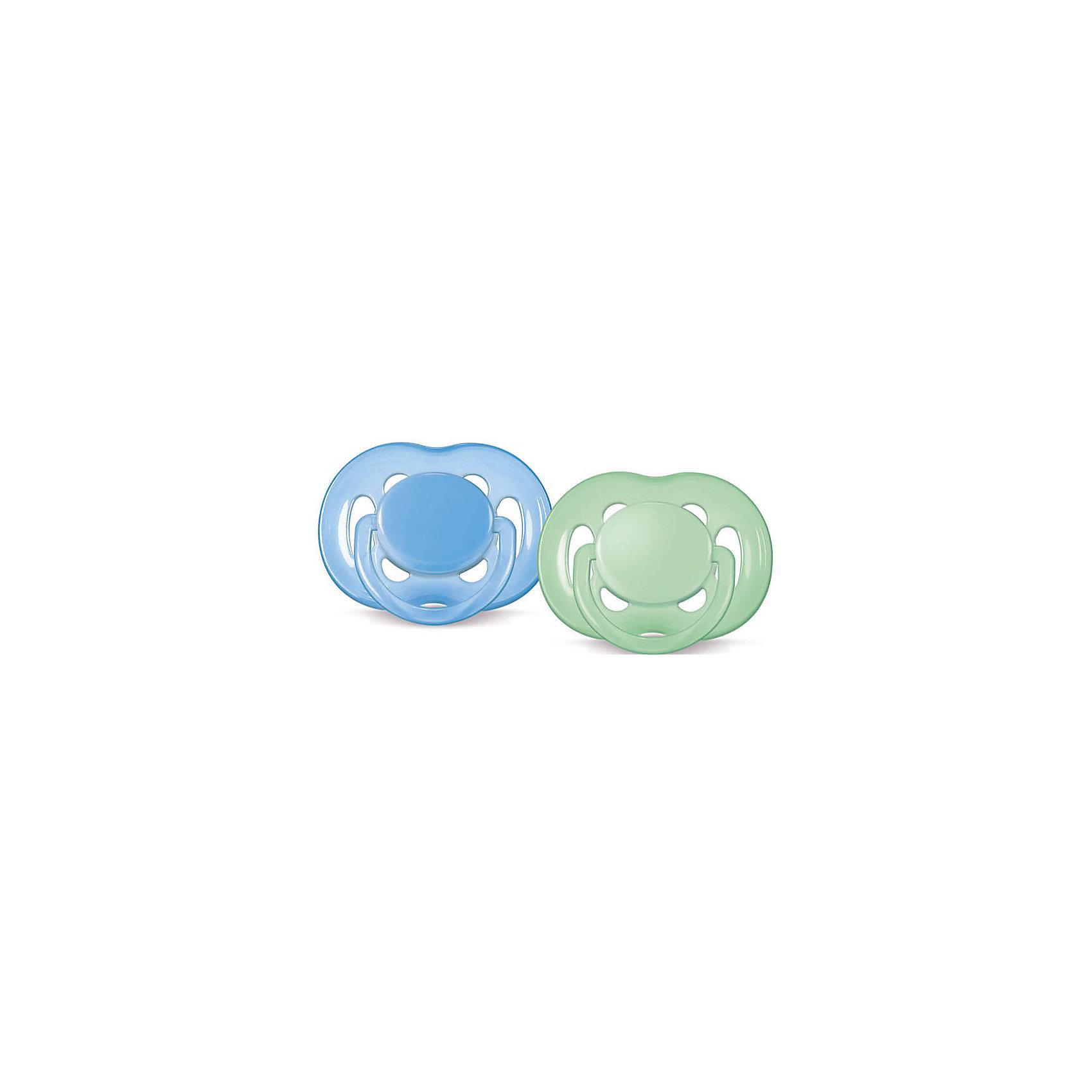 Соска-пустышка 6-18 мес, 2 шт., Philips Avent, зеленый/голубой