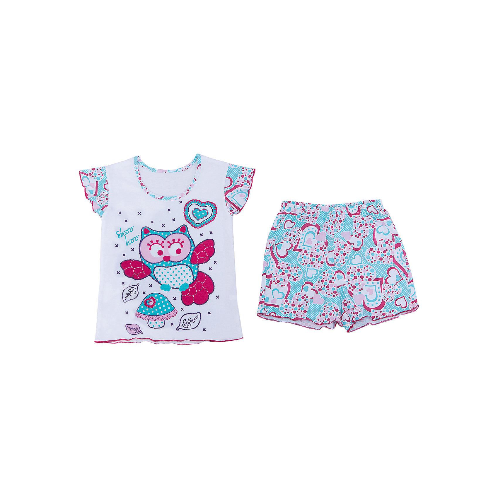 Пижама для девочки АпрельПижама для девочки Апрель.<br><br>Характеристики:<br>• состав: 100% хлопок<br>• цвет: белый/голубой<br><br>Пижама для девочки от известной марки Апрель выполнена из мягкого хлопка, который подарит комфорт во время сна. Шортики и футболка имеют одинаковую расцветку в виде сердечек. Футболка дополнена принтом с изображением совы. Рукава футболки дополнены рюшами. В этой пижаме девочка увидит самые прекрасные сны!<br><br>Пижаму для девочки Апрель вы можете купить в нашем интернет-магазине.<br><br>Ширина мм: 281<br>Глубина мм: 70<br>Высота мм: 188<br>Вес г: 295<br>Цвет: белый/голубой<br>Возраст от месяцев: 60<br>Возраст до месяцев: 72<br>Пол: Женский<br>Возраст: Детский<br>Размер: 116,110,128,122<br>SKU: 4936738