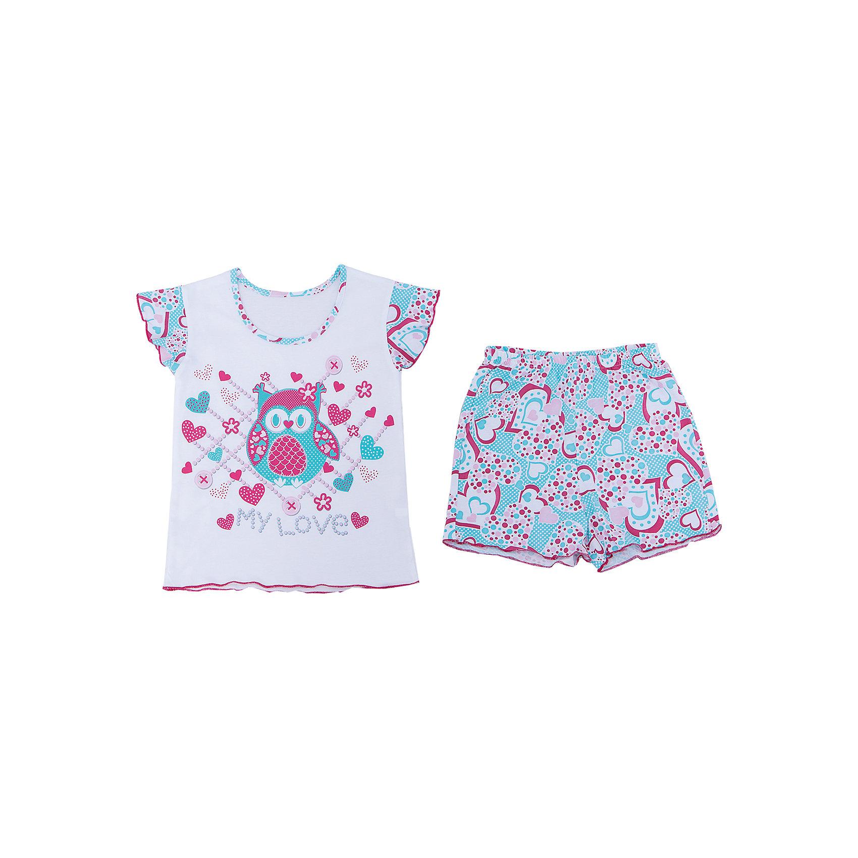 Пижама для девочки АпрельПижама для девочки Апрель.<br><br>Характеристики:<br>• состав: 100% хлопок<br>• цвет: белый/голубой<br><br>Пижама для девочки от известной марки Апрель выполнена из мягкого хлопка, который подарит комфорт во время сна. Шортики и футболка имеют одинаковую расцветку в виде сердечек. Футболка дополнена принтом с изображением совы. Рукава футболки дополнены рюшами. В этой пижаме девочка увидит самые прекрасные сны!<br><br>Пижаму для девочки Апрель вы можете купить в нашем интернет-магазине.<br><br>Ширина мм: 281<br>Глубина мм: 70<br>Высота мм: 188<br>Вес г: 295<br>Цвет: белый/голубой<br>Возраст от месяцев: 36<br>Возраст до месяцев: 48<br>Пол: Женский<br>Возраст: Детский<br>Размер: 104,128,122,116,110<br>SKU: 4936752