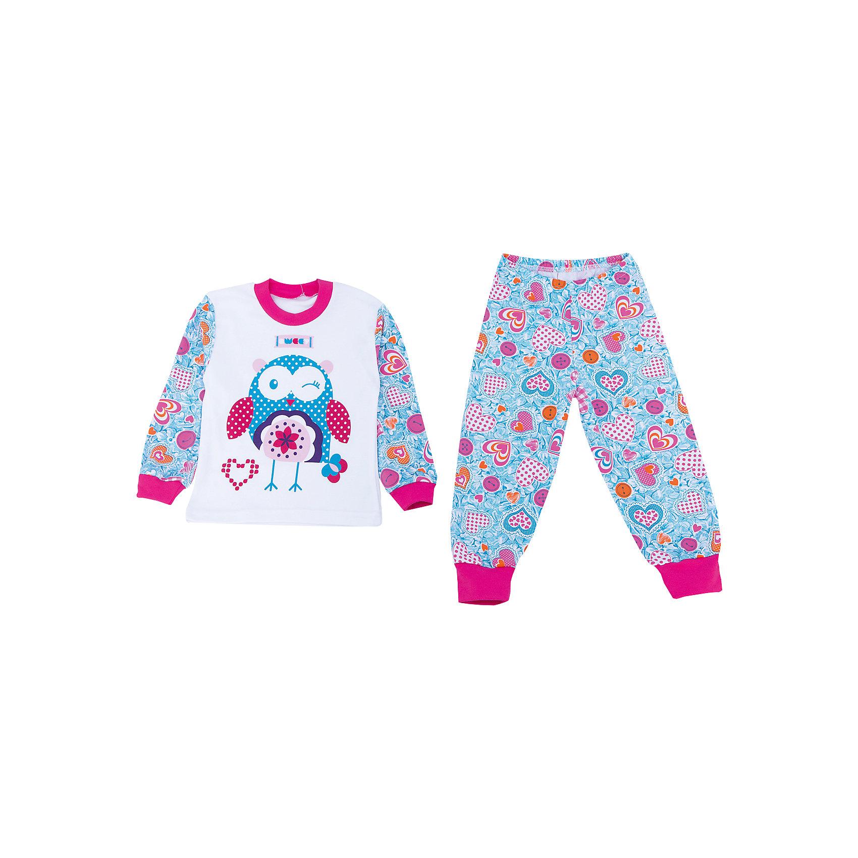 Пижама для девочки АпрельПижама Апрель.<br><br>Характеристики:<br>• материал: хлопок<br>• цвет: голубой<br><br>Яркая пижама от популярной марки Апрель выполнена из мягкого хлопка, приятного телу, что ребенок сможет оценить во время сна. Манжеты не позволят холодному воздуху проникнуть под одежду. Модель украшена ярким рисунком с сердечками и совами. В такой пижаме ваш ребенок увидит самые приятные и яркие сны!<br><br>Купить пижаму Апрель можно в нашем интернет-магазине.<br><br>Ширина мм: 281<br>Глубина мм: 70<br>Высота мм: 188<br>Вес г: 295<br>Цвет: белый/голубой<br>Возраст от месяцев: 60<br>Возраст до месяцев: 72<br>Пол: Женский<br>Возраст: Детский<br>Размер: 116,92,98,104,110<br>SKU: 4936889