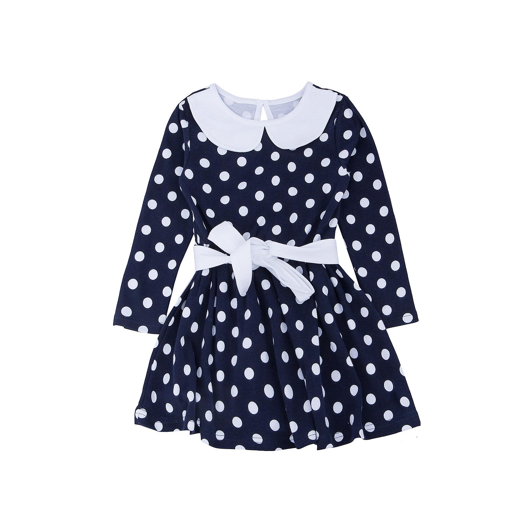 Платье для девочки АпрельПлатье для девочки Апрель.<br><br>Характеристики:<br>• состав: 100% хлопок<br>• цвет: синий/белый<br>• коллекция: Осенний блюз<br><br>Очаровательное платье Апрель из коллекции Осенний блюз имеет расширенный к низу силуэт и длинные рукава. Платье темного цвета в белый горох дополнено белым воротником и поясом. Сзади модель застегивается на пуговицу. Это платье отлично впишется в гардероб маленькой модницы!<br><br>Платье для девочки Апрель вы можете приобрести в нашем интернет-магазине.<br><br>Ширина мм: 236<br>Глубина мм: 16<br>Высота мм: 184<br>Вес г: 177<br>Цвет: синий/белый<br>Возраст от месяцев: 36<br>Возраст до месяцев: 48<br>Пол: Женский<br>Возраст: Детский<br>Размер: 104<br>SKU: 4936994
