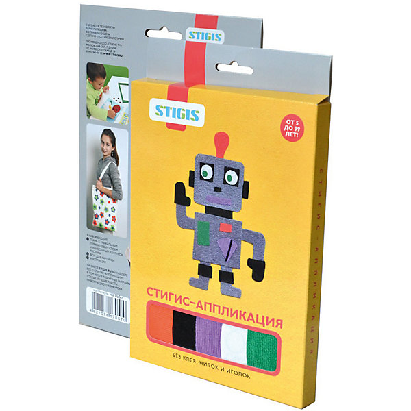 Стигис-аппликация картинка РоботБумага<br>Стигис-аппликация Робот - отличный набор для детского творчества. Для создания яркой и необычной картины нужно вырезать детали из ткани с термоклеящимся слоем, выложить их на основу и прогладить с помощью утюга. Робот готов! Поделкой ребенок с удовольствием похвастается перед друзьями или оставит в подарок. Замечательный выбор для развития творческих навыков!<br><br>Дополнительная информация:<br>В комплекте: основа, ткань с контурами деталей, инструкция<br>Размер: 1,5х23х15 см<br>Вес: 54 грамма<br>Вы можете приобрести стигис-аппликацию Робот в нашем интернет-магазине.<br>Ширина мм: 150; Глубина мм: 230; Высота мм: 15; Вес г: 54; Возраст от месяцев: 60; Возраст до месяцев: 2147483647; Пол: Унисекс; Возраст: Детский; SKU: 4939440;
