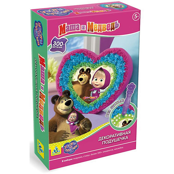 Подушечка для декорирования Маша и МедведьШитьё<br>Ваш ребенок любит мультсериал Маша И Медведь? Тогда он с удовольствием сделает рамку-подушку с любимыми персонажами. В набор Подушечка Маша и Медведь входит более 300 деталей. Такой вид творчества прекрасно развивает воображение, усидчивость и творческие способности.<br><br>Дополнительная информация:<br>Сказочный персонаж: Маша и Медведь<br>В комплекте: 300 элементов декора, подушка, стилус, наклейка<br>Материал: пластик, бумага, плюш<br>Размер: 6,3х22,5х16 см<br>Вес: 480 грамм<br>Подушечку для декорирования Маша и Медведь вы можете купить в нашем интернет-магазине.<br><br>Ширина мм: 160<br>Глубина мм: 225<br>Высота мм: 63<br>Вес г: 480<br>Возраст от месяцев: 60<br>Возраст до месяцев: 120<br>Пол: Унисекс<br>Возраст: Детский<br>SKU: 4939463