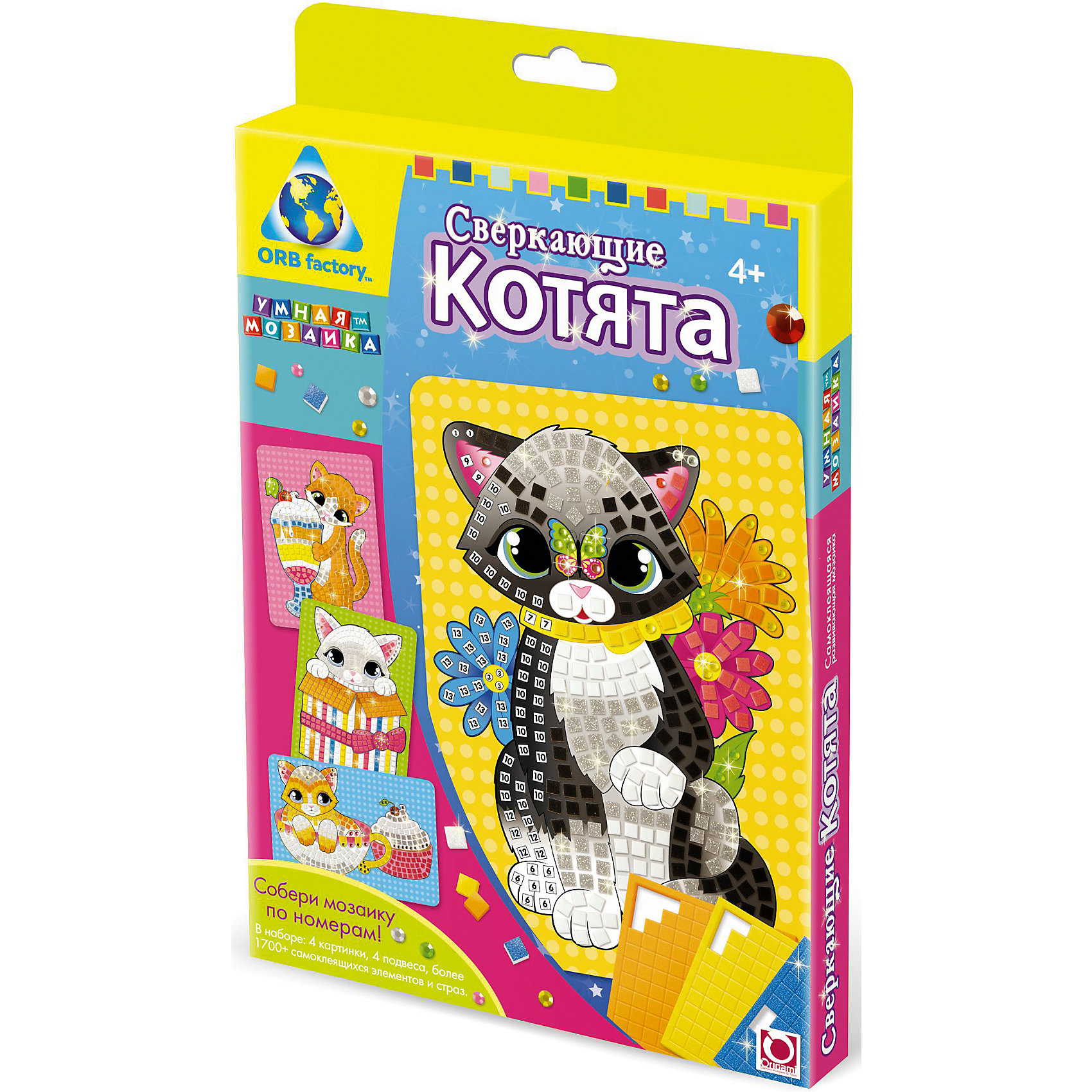 Origami Мозаика-набор Сверкающие котята, 4 картинки тотошка мозаика котята