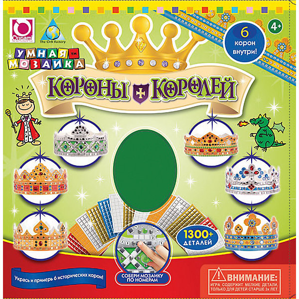 Мозаика-набор Короны Королей, 6 штМозаика детская<br>Наверное каждый малыш мечтает стать прекрасным принцем или принцессой. А пока он растет и набирается сил, вы можете подарить ему возможность выбрать себе будущую корону. С набором Короны королей малыш сможет создать красивые короны с помощью самоклеящейся мозаики. Наклеивать элементы нужно по номерам. Это позволит развить мелкую моторику, усидчивость и аккуратность. Отличный подарок для будущих королей!<br><br>Дополнительная информация:<br>В комплекте: 6 корон, более 1300 самоклеящихся элементов и страз<br>Размер: 31,2х5,1х30,5 см<br>Вес: 501 грамм<br>Мозаику Короны Королей вы можете приобрести в нашем интернет-магазине.<br><br>Ширина мм: 305<br>Глубина мм: 51<br>Высота мм: 312<br>Вес г: 501<br>Возраст от месяцев: 36<br>Возраст до месяцев: 96<br>Пол: Унисекс<br>Возраст: Детский<br>SKU: 4939480