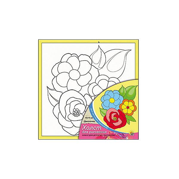 Холст с красками Цветочки, 15х15 смРаскраски по номерам<br>Цветочки - необыкновенный набор для детского творчества. Для того, чтобы оживить черно-белый эскиз, нужно нанести на него яркие акриловые краски, входящие в набор. Очаровательная картинка с цветами понравится малышу и он сможет украсить ею свою комнату, а может даже подарить друзьям или близким. Творчество с таким набором хорошо развивает творческие навыки, усидчивость и аккуратность. Замечательный подарок для юного художника!<br><br>Дополнительная информация:<br>В комплекте: холст с эскизом, 7 акриловых красок, кисточка<br>Размер: 15х1,5х15 см<br>Вес: 140 грамм<br>Холст с красками Цветочки можно приобрести в нашем интернет-магазине.<br><br>Ширина мм: 150<br>Глубина мм: 15<br>Высота мм: 150<br>Вес г: 140<br>Возраст от месяцев: 36<br>Возраст до месяцев: 120<br>Пол: Унисекс<br>Возраст: Детский<br>SKU: 4939500