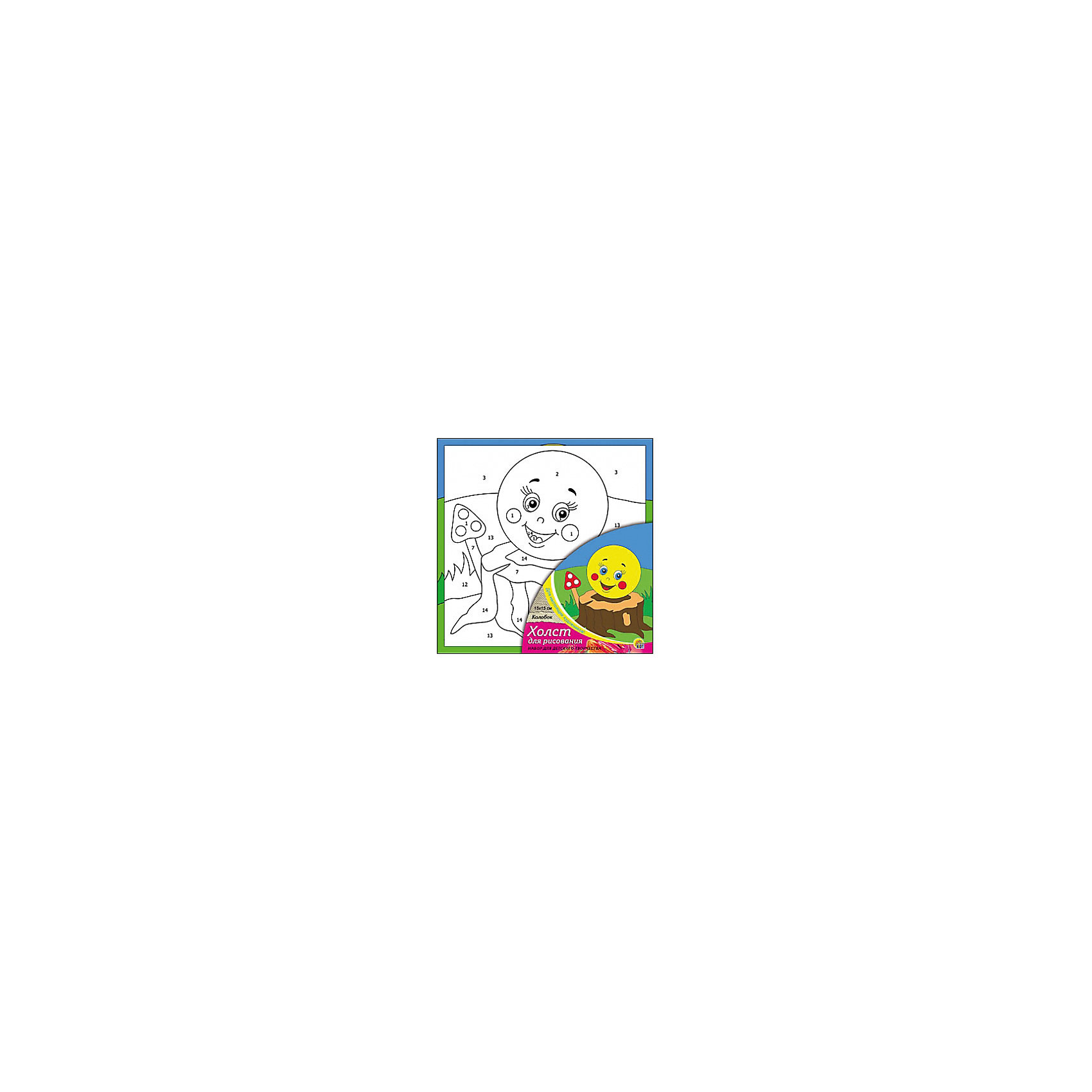Холст с красками по номерам Колобок, 15х15 смРисование<br>Набор для творчества Колобок поможет ребенку своими руками создать яркий, привлекающий внимание шедевр. Достаточно правильно нанести на рисунок краску, соответствующую номеру на холсте, и картинка словно оживет и будет привлекать внимание своей красотой и уникальностью. В процессе творчества ребенок будет развивать художественные навыки и внимание. Отличный выбор для творческих детей!<br><br>Дополнительная информация:<br>В комплекте: 1 холст с эскизом, 7 акриловых красок, кисточка<br>Сказочный персонаж: Колобок<br>Размер: 15х1,5х15 см<br>Вес: 140 грамм<br>Вы можете купить набор для творчества Колобок в нашем интернет-магазине.<br><br>Ширина мм: 150<br>Глубина мм: 15<br>Высота мм: 150<br>Вес г: 140<br>Возраст от месяцев: 36<br>Возраст до месяцев: 120<br>Пол: Унисекс<br>Возраст: Детский<br>SKU: 4939501