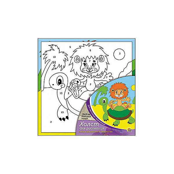 Холст с красками по номерам Любимая сказка, 15х15 смРаскраски по номерам<br>Набор для творчества Любимая сказка поможет ребенку своими руками создать яркий, привлекающий внимание шедевр. Достаточно правильно нанести на рисунок краску, соответствующую номеру на холсте, и картинка словно оживет и будет привлекать внимание своей красотой и уникальностью. В процессе творчества ребенок будет развивать художественные навыки и внимание. Отличный выбор для творческих детей!<br><br>Дополнительная информация:<br>В комплекте: 1 холст с эскизом, 7 акриловых красок, кисточка<br>Сказочный персонаж: Львенок и черепаха<br>Размер: 15х1,5х15 см<br>Вес: 140 грамм<br>Вы можете купить набор для творчества Любимая сказка в нашем интернет-магазине.<br><br>Ширина мм: 150<br>Глубина мм: 15<br>Высота мм: 150<br>Вес г: 140<br>Возраст от месяцев: 36<br>Возраст до месяцев: 120<br>Пол: Унисекс<br>Возраст: Детский<br>SKU: 4939504
