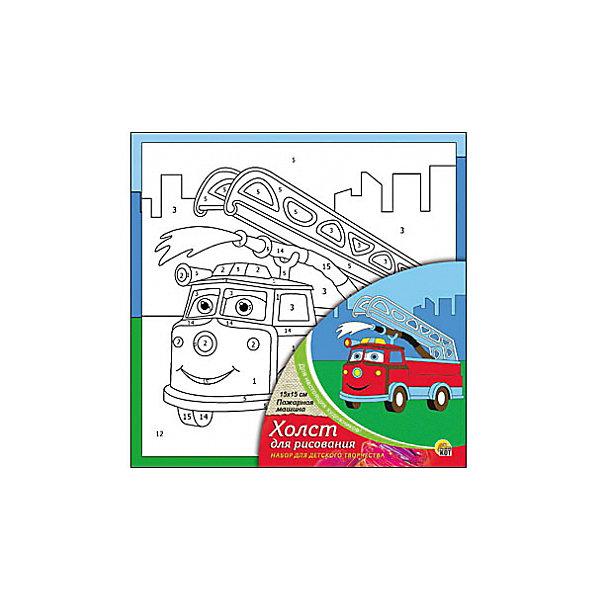 Холст с красками по номерам Пожарная машика, 15х15 смКартины по номерам<br>Набор для творчества Пожарная машина поможет ребенку своими руками создать яркий, привлекающий внимание шедевр. Достаточно правильно нанести на рисунок краску, соответствующую номеру на холсте, и картинка словно оживет и будет привлекать внимание своей красотой и уникальностью. В процессе творчества ребенок будет развивать художественные навыки и внимание. Отличный выбор для творческих детей!<br><br>Дополнительная информация:<br>В комплекте: 1 холст с эскизом, 7 акриловых красок, кисточка<br>Размер: 15х1,5х15 см<br>Вес: 140 грамм<br>Вы можете купить набор для творчества Пожарная машина в нашем интернет-магазине.<br>Ширина мм: 150; Глубина мм: 15; Высота мм: 150; Вес г: 140; Возраст от месяцев: 36; Возраст до месяцев: 120; Пол: Унисекс; Возраст: Детский; SKU: 4939507;