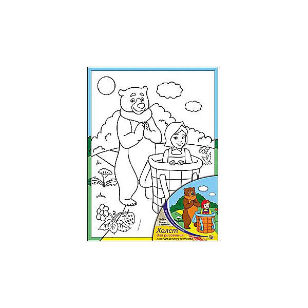 Холст с красками Маша и Медведь, 18х24 смРаскраски по номерам<br>Холст и краски Маша и Медведь помогут ребенку сделать красивую картину своими руками. Малыш сможет раскрасить эскиз на холсте так, как подскажет его воображение. Такое творчество развивает художественные таланты, аккуратность и усидчивость. Готовая поделка понравится ребенку и он с удовольствием украсит ею  свою комнату!<br><br>Дополнительная информация:<br>Сказочный персонаж: Маша и Медведь<br>В комплекте: холст-эскиз, 7 акриловых красок, кисточка<br>Размер: 18х1,5х24 см<br>Вес: 180 грамм<br>Холст и краски Маша и Медведь вы можете купить в нашем интернет-магазине.<br>Ширина мм: 240; Глубина мм: 15; Высота мм: 180; Вес г: 180; Возраст от месяцев: 36; Возраст до месяцев: 120; Пол: Унисекс; Возраст: Детский; SKU: 4939511;