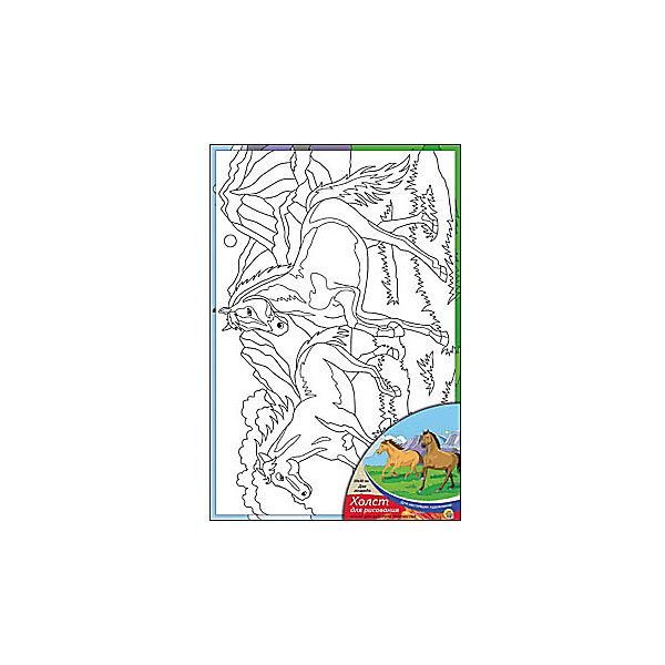 Холст с красками Две лошади, 20х30 смРаскраски по номерам<br>Ваш малыш любит рисовать? Тогда набор Две лошади обязательно порадует юного художника. Такое творчество развивает аккуратность, усидчивость и творческие навыки. Ребенок научится рисовать по холсту, и готовая яркая картинка вызовет восторг не только у него, но и у родителей, которые будут еще больше гордиться его талантами.<br><br>Дополнительная информация:<br>В наборе: холст-эскиз, 7 акриловых красок, кисточка<br>Размер: 20х1,5х30 см<br>Вес: 230 грамм<br>Холст с красками Две лошади можно купить в нашем интернет-магазине.<br>Ширина мм: 300; Глубина мм: 15; Высота мм: 200; Вес г: 230; Возраст от месяцев: 36; Возраст до месяцев: 120; Пол: Унисекс; Возраст: Детский; SKU: 4939527;