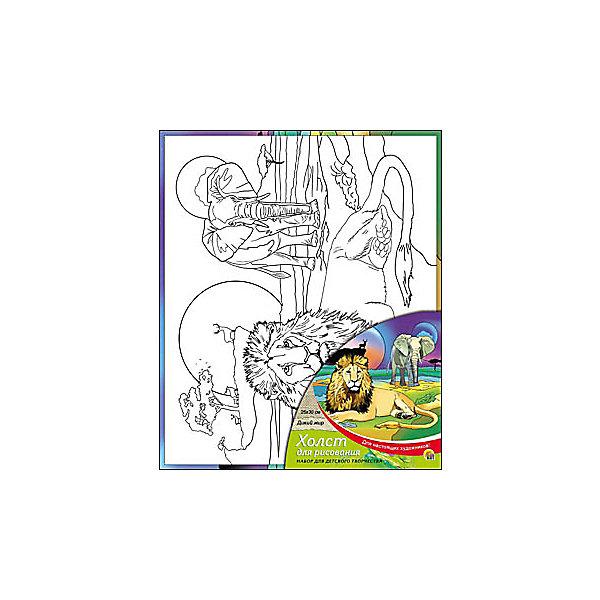Холст с красками Дикий мир, 25х30 смРаскраски по номерам<br>Холст с красками Дикий мир поможет ребенку провести время с пользой и развить художественные навыки. Яркими красками он с удовольствием раскрасит эскиз на холсте и с гордостью сможет похвастаться родителям и друзьям!<br><br>Дополнительная информация:<br>В наборе: холст-эскиз, 7 акриловых красок, кисточка<br>Размер: 25х1,5х30 см<br>Вес: 250 грамм<br>Вы можете приобрести холст с красками Дикий мир в нашем интернет-магазине.<br>Ширина мм: 300; Глубина мм: 15; Высота мм: 250; Вес г: 250; Возраст от месяцев: 36; Возраст до месяцев: 120; Пол: Унисекс; Возраст: Детский; SKU: 4939537;