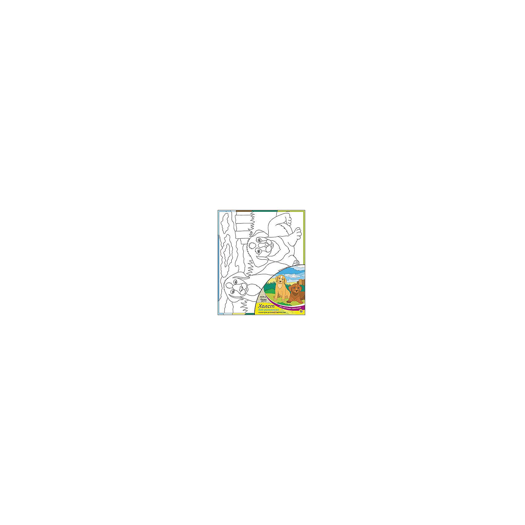Холст с красками Милые щенки, 25х30 смРисование<br>Холст с красками Милые щенки поможет ребенку провести время с пользой и развить художественные навыки. Яркими красками он с удовольствием раскрасит эскиз на холсте и с гордостью сможет похвастаться родителям и друзьям!<br><br>Дополнительная информация:<br>В наборе: холст-эскиз, 7 акриловых красок, кисточка<br>Размер: 25х1,5х30 см<br>Вес: 250 грамм<br>Вы можете приобрести холст с красками Милые щенки в нашем интернет-магазине.<br><br>Ширина мм: 300<br>Глубина мм: 15<br>Высота мм: 250<br>Вес г: 250<br>Возраст от месяцев: 36<br>Возраст до месяцев: 120<br>Пол: Унисекс<br>Возраст: Детский<br>SKU: 4939541