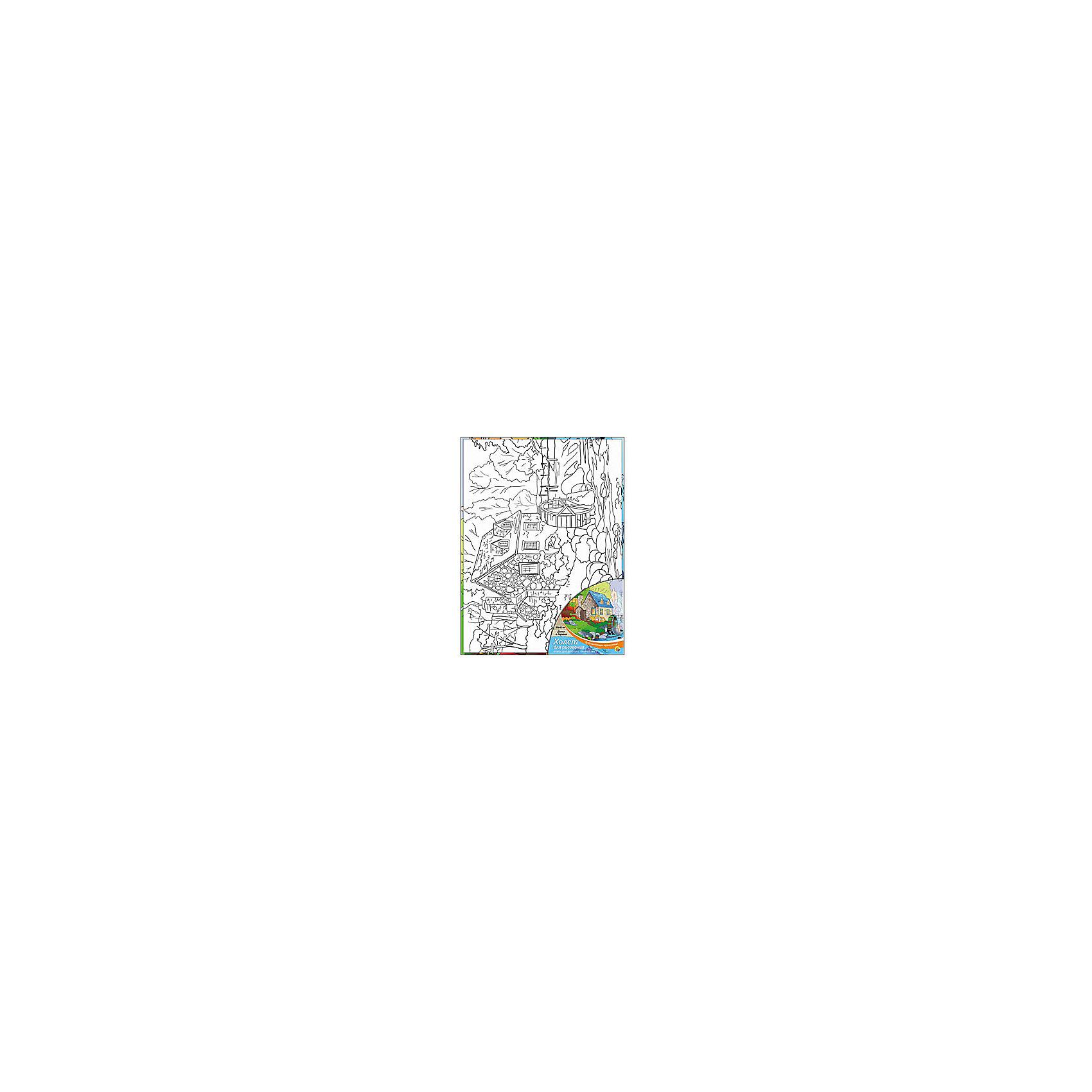 Холст с красками Домик в деревне, 30х40 смРаскраски по номерам<br>Для любителей творчества прекрасно подойдет набор Домик в деревне. Ребенок раскрасит нанесенный на холст эскиз яркими акриловыми красками. Такое творчество поможет развить аккуратность, усидчивость и художественные навыки. Готовую картину можно подарить друзьям или оставить для украшения своей комнаты.<br><br>Дополнительная информация:<br>В наборе: холст-эскиз, 16 акриловых красок, кисточка<br>Размер: 30х1,5х40 см<br>Вес: 370 грамм<br>Вы можете приобрести холст с красками Домик в деревне в нашем интернет-магазине.<br><br>Ширина мм: 400<br>Глубина мм: 15<br>Высота мм: 300<br>Вес г: 370<br>Возраст от месяцев: 36<br>Возраст до месяцев: 120<br>Пол: Унисекс<br>Возраст: Детский<br>SKU: 4939548